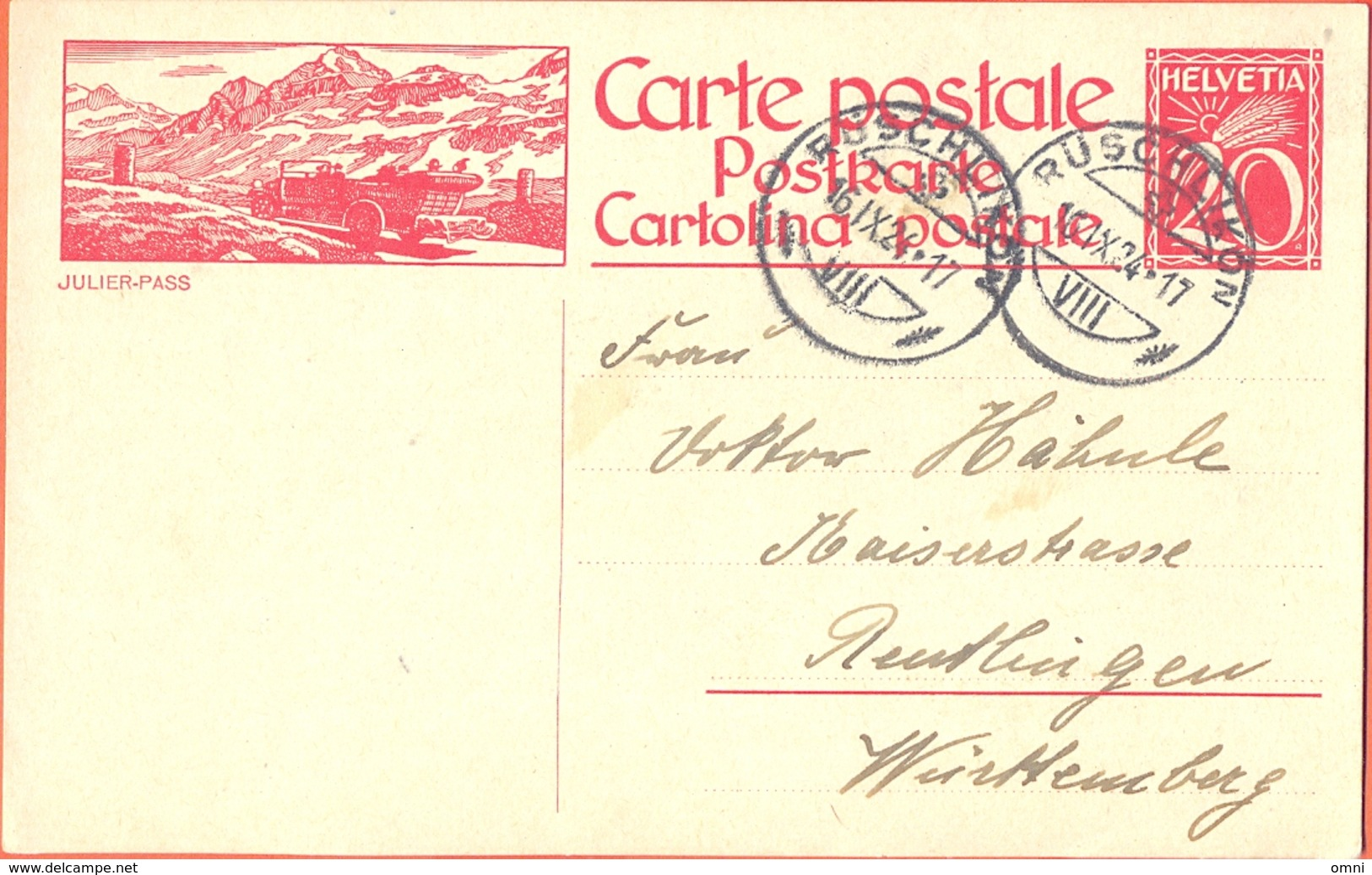Postal Stationery Switzerland, Schweiz, Stationery Circuled Entier Ganzsache Julier Pass Postauto Autobus 1924 Fine Used - Interi Postali
