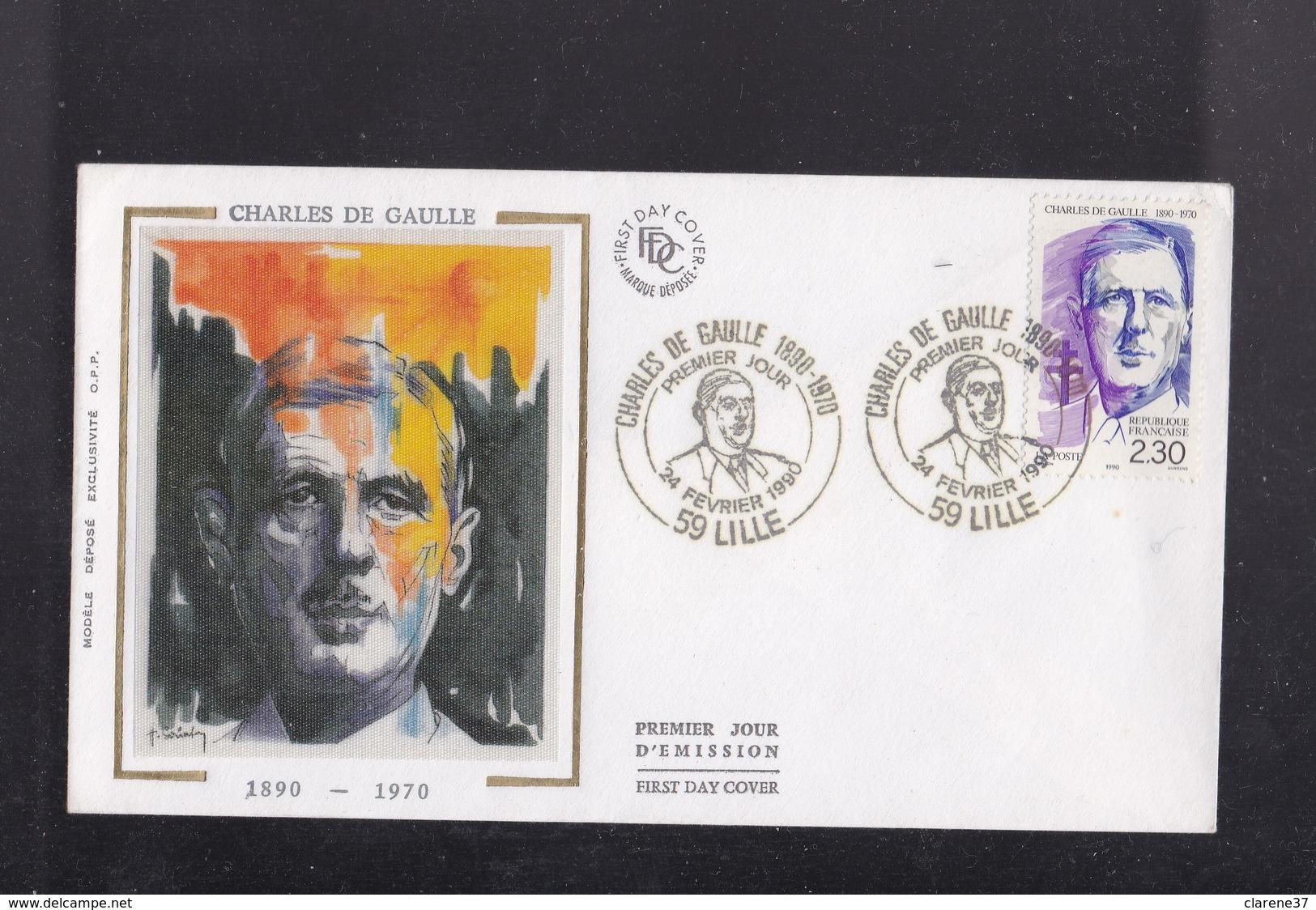 ENVELOPPE 1er JOUR  CHARLES DE GAULLE 59 LILLE  24 Février 1990 - Autres Collections