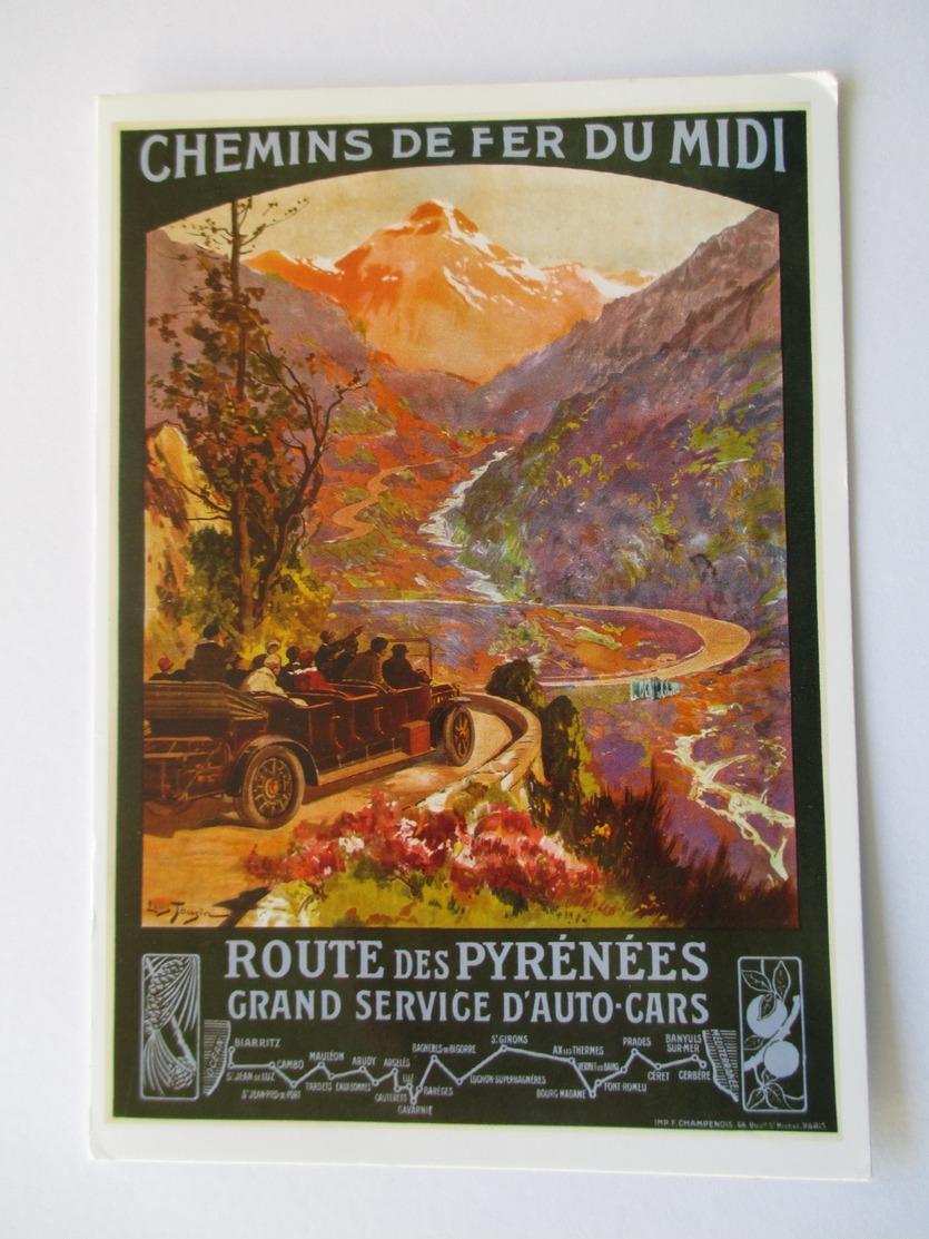 Carte Postale Affiche Chemin De Fer Du Midi   Route Des Pyrénées  Grand Service D'autocars - Publicité
