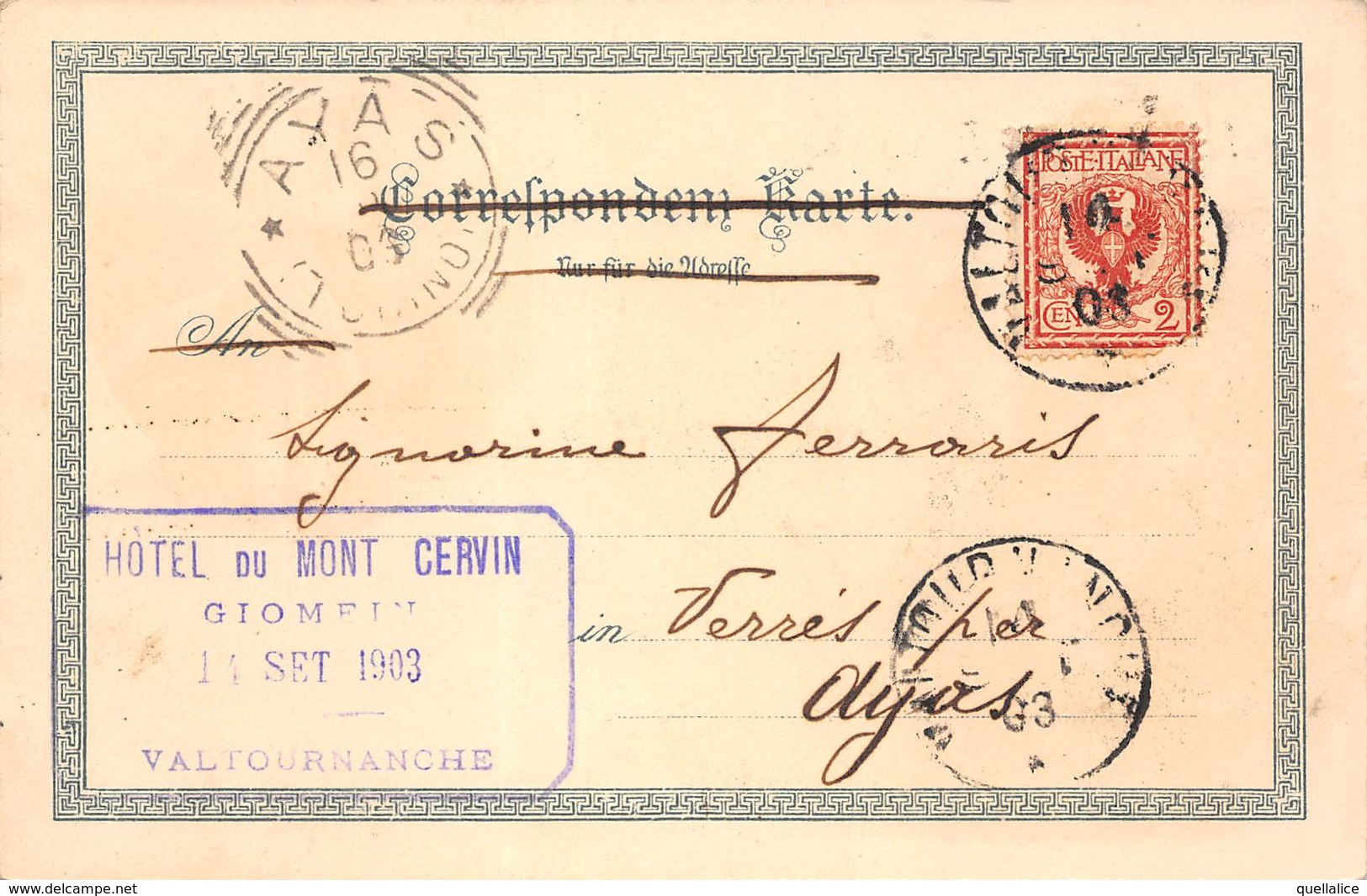 """0883 """"(AO) VALTOURNANCHE - HOTEL DU MONT CERVIN - GRUSS - SALUTI UMORISTICA - VEDUTA CON BINOCOLO""""  CART SPED 1903 - Humour"""