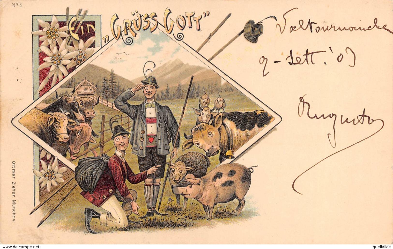 """0885 """"(AO) AYAS - INCONTRI PIACEVOLI...........GRUSS GOTT - UMORISTICA""""  CART SPED 1903 - Humour"""
