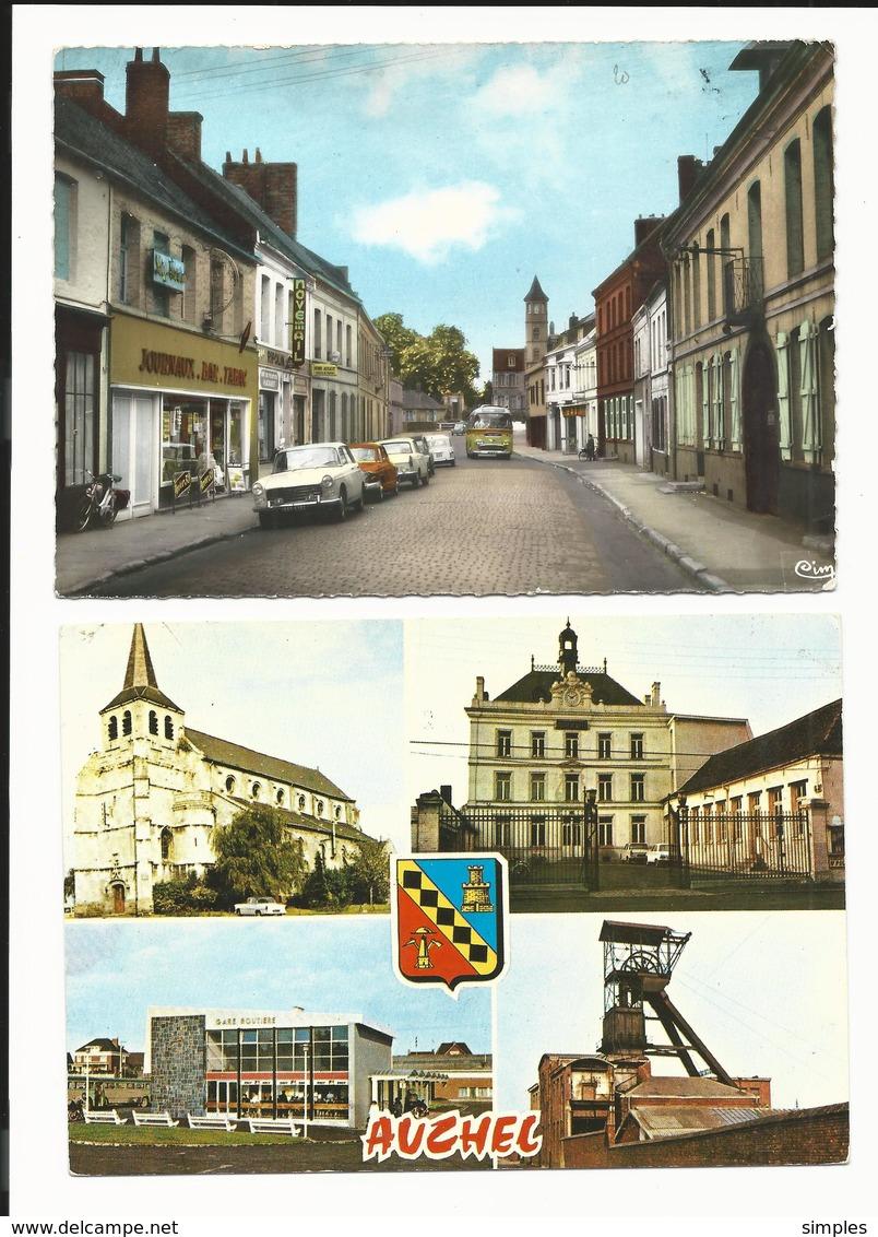 2 CPSM  Arques Auchel  Rue Adrien Danvers, Multivue - Voiture Bus 1965 - 2 Scans - Non Classés