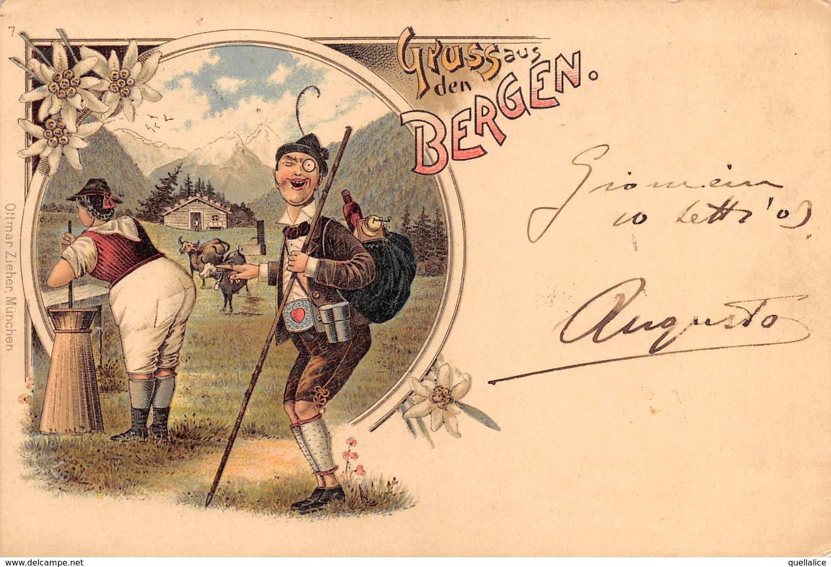 """0886 """"(AO) VALTOURNANCHE - TIMBRO - IN MONTAGNA...... PRODUZIONE BURRO..........GRUSS - UMORISTICA""""  CART SPED 1903 - Humour"""