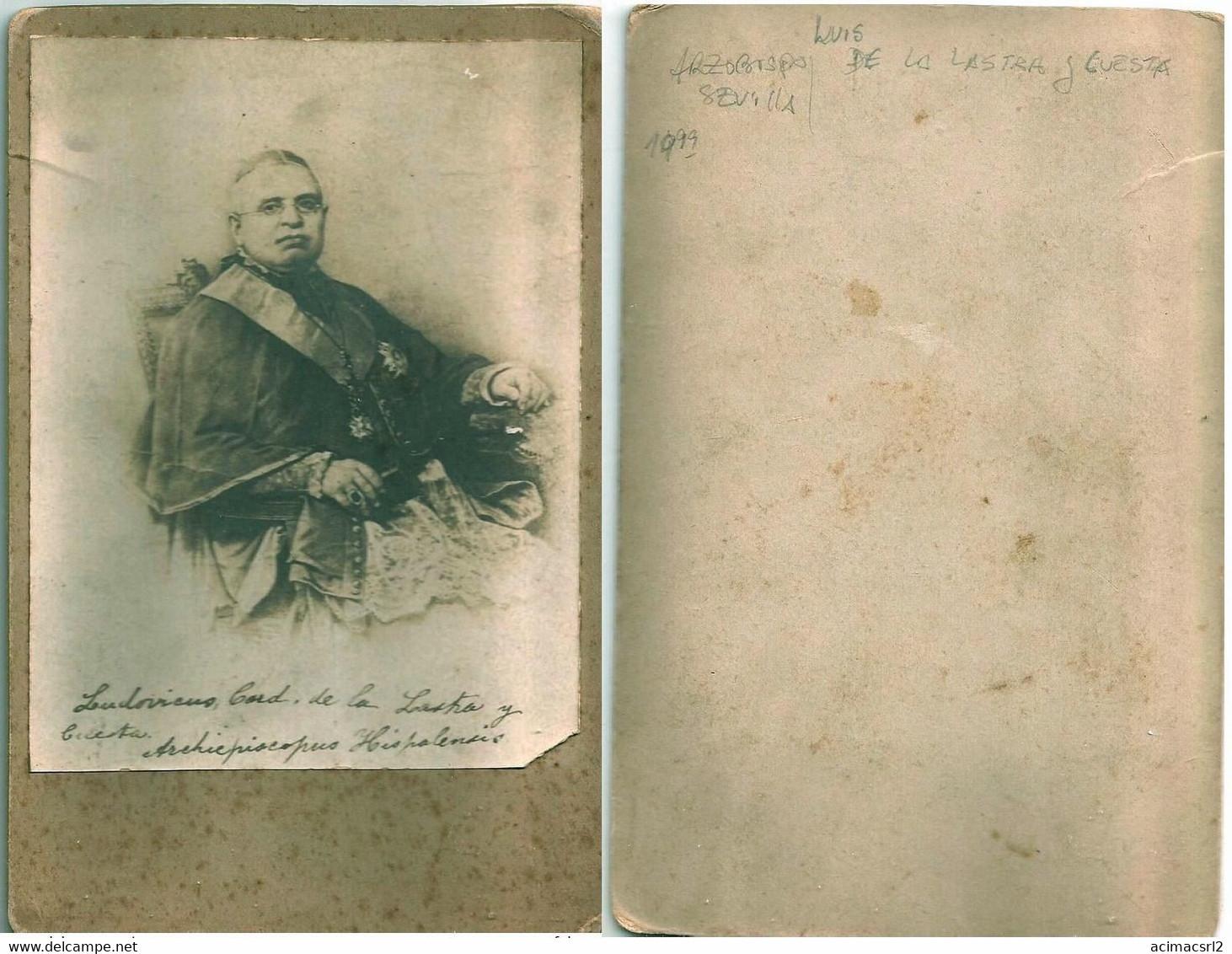 Cabinet Card 1870's - Cardenal LUIS De La Lastra Y Cuesta, Arzobispo De Sevilla - CRISTIANISMO CHRISTIANITY CHRISTIANITÉ - Fotos