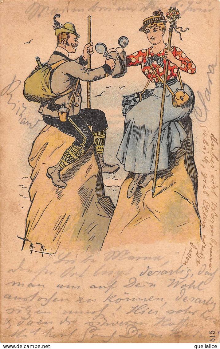 """0891 """"(AO) VALTOURNANCHE - ALL'ARRIVO............UN BRINDISI..........UMORISTICA"""" ANIMATA. CART SPED 1896 - Humour"""
