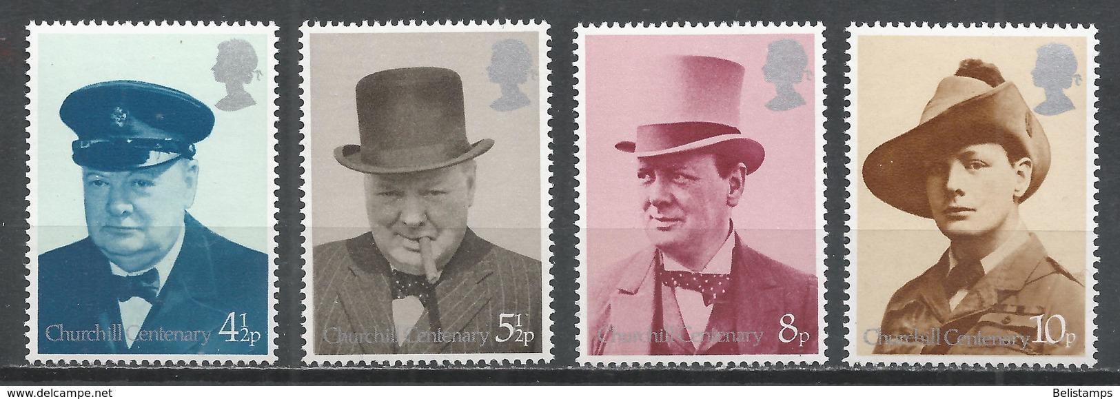 Great Britain 1974. Scott #728-31 (MNH) Sir Winston Spencer Churchill (1874-1965) ** Complet Set - 1952-.... (Elizabeth II)