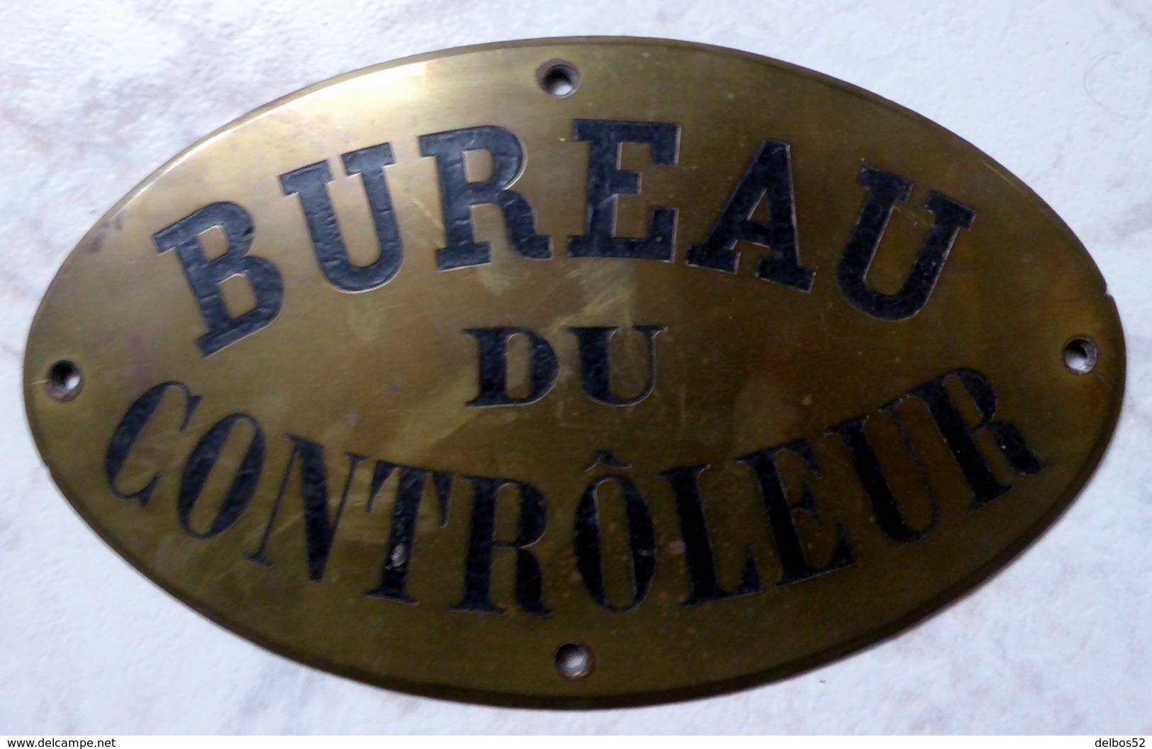 """"""" BUREAU DU CONTRÔLEUR """"  : PLAQUE ANCIENNE EN LAITON - Autres"""