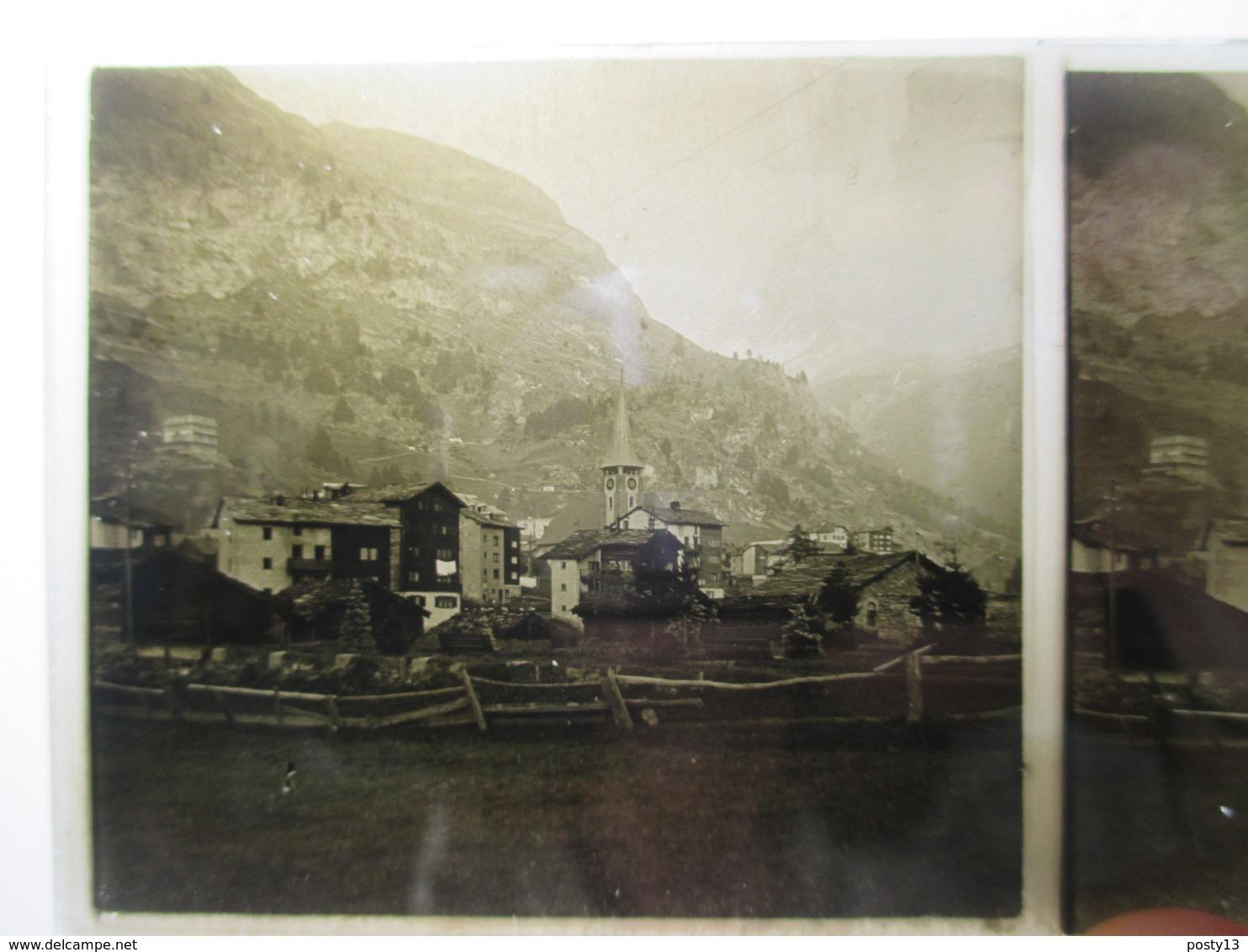 SUISSE  -  ZERMATT   - Plaque De Verre Stéréoscopique 6 X 13 -  TBE - Plaques De Verre