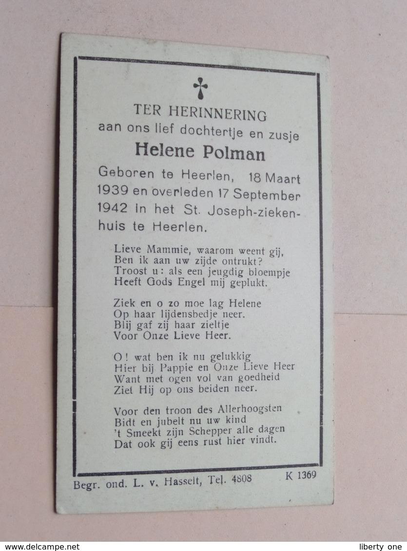 DP Helene POLMAN Heerlen 18 Maart 1939 - 17 Sept 1942 Heerlen ! - Obituary Notices
