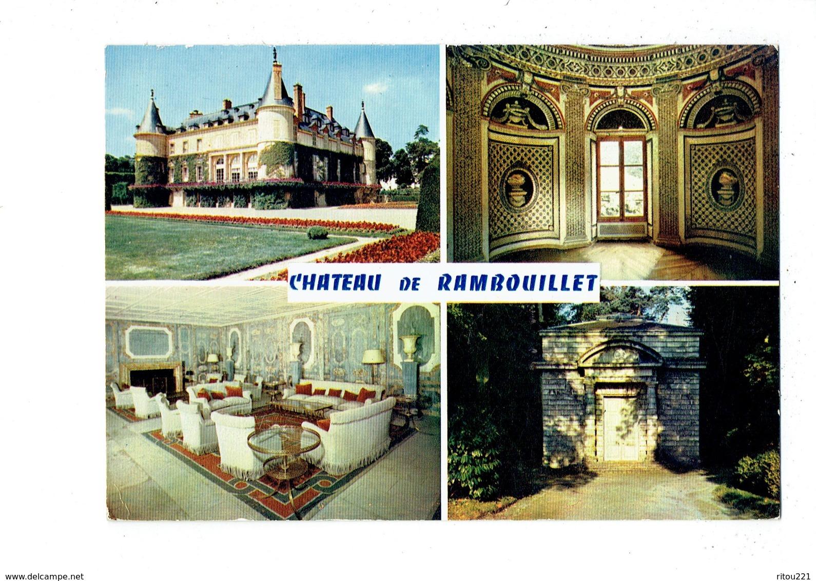 Cpm - Château De RAMBOUILLET - Façade Jardins Chaumière Des Coquillages Salle Marbres Laiterie Reine - Châteaux D'eau & éoliennes