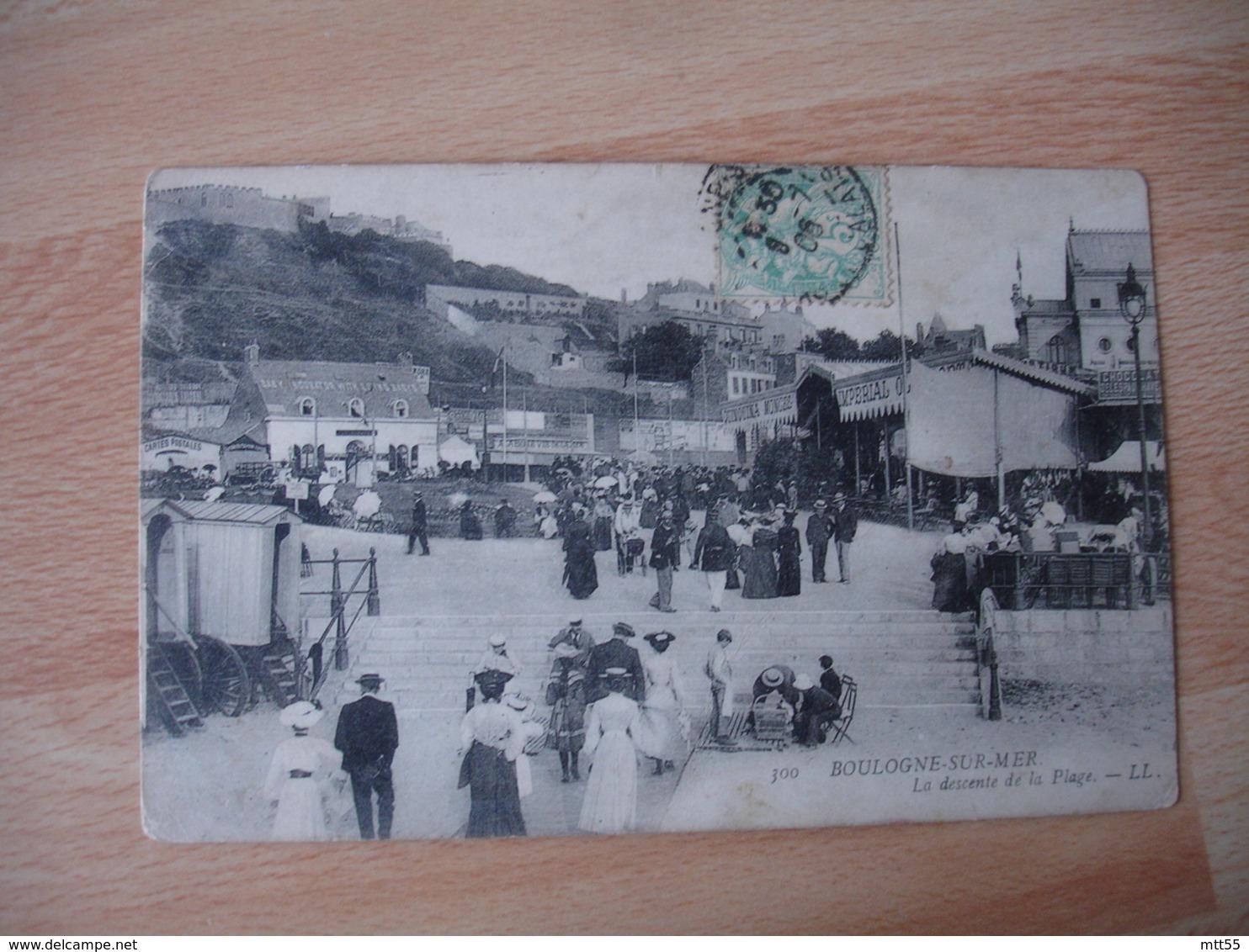 Boulogne Sur Mer Foule Descente De La Plage 1905 - Boulogne Sur Mer