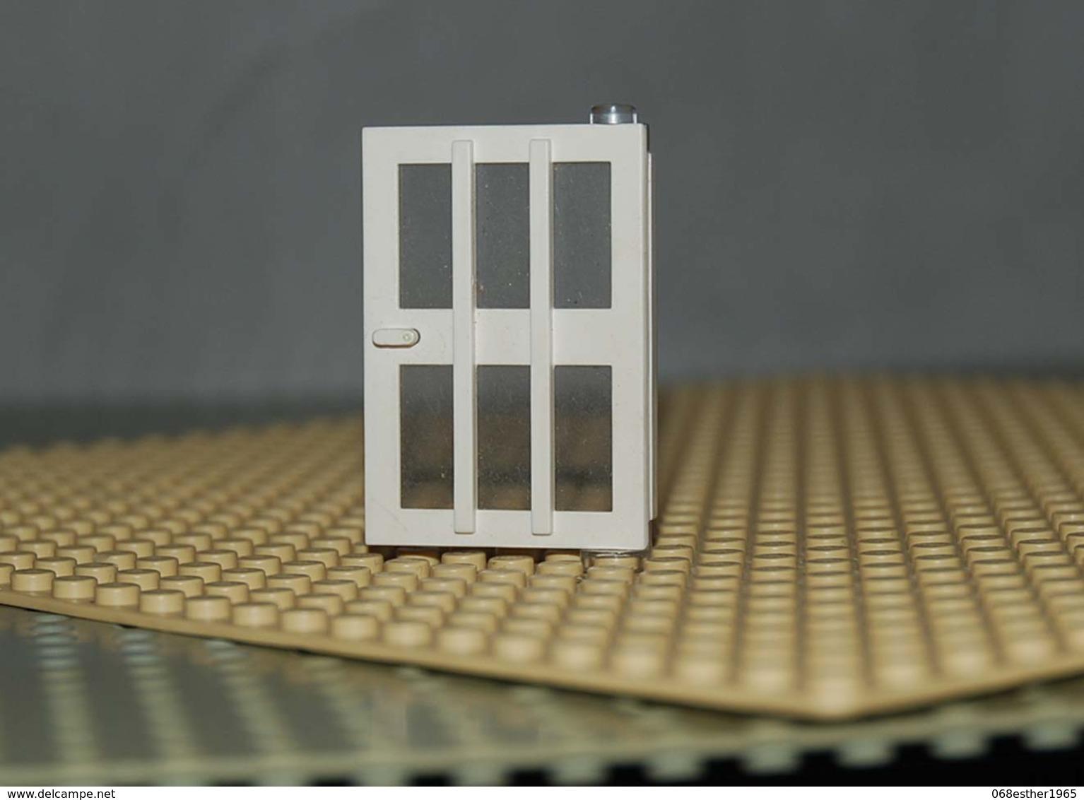 Lego Porte Blanche Droite 1x4x5 Avec Vitre Et 6 Carreaux Ref 73312 - Lego Technic