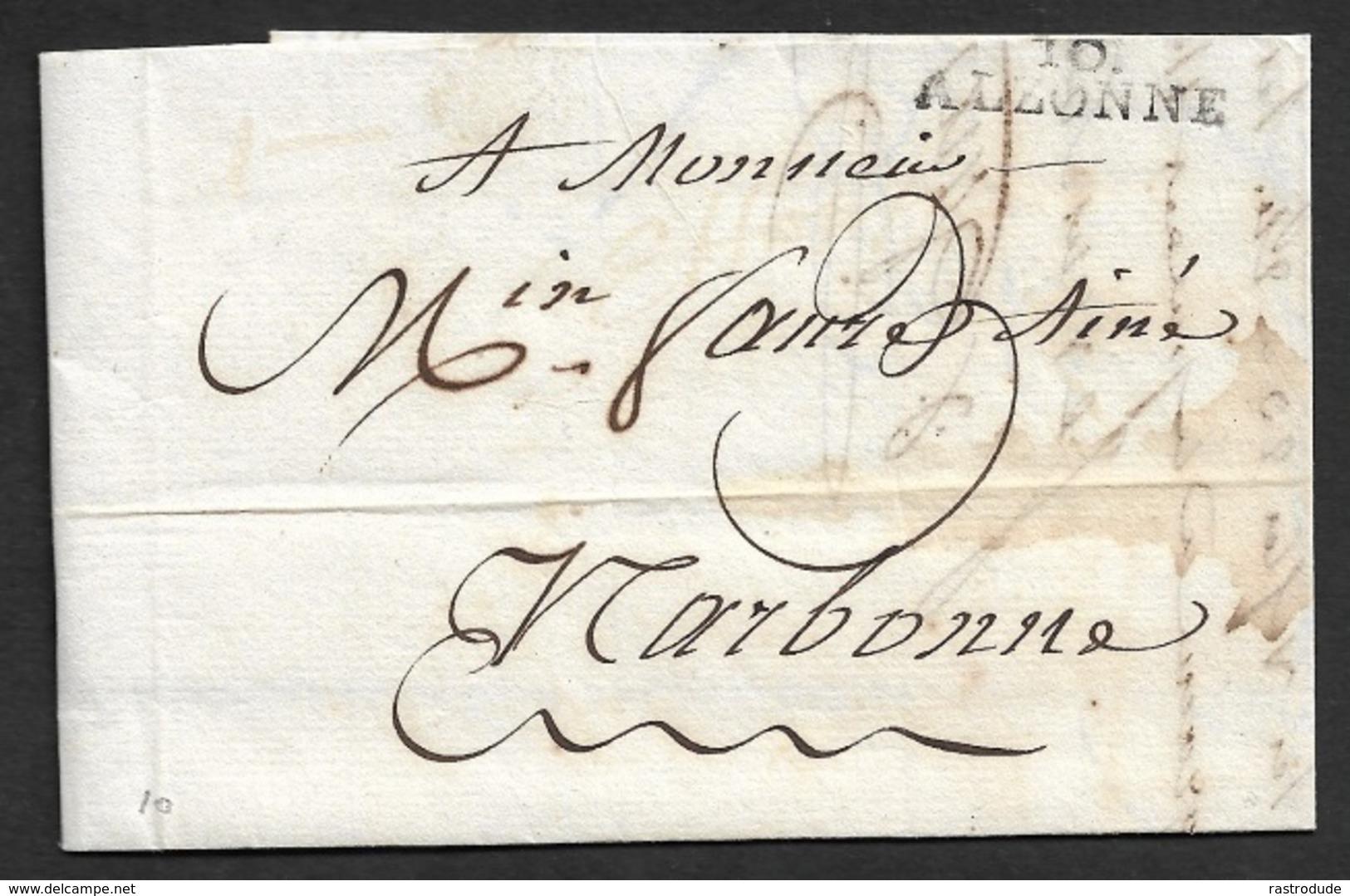1817 - LAC - 10 ALZONNE 28mm X 8mm (AUDE) A NARBONNE - Marcophilie (Lettres)