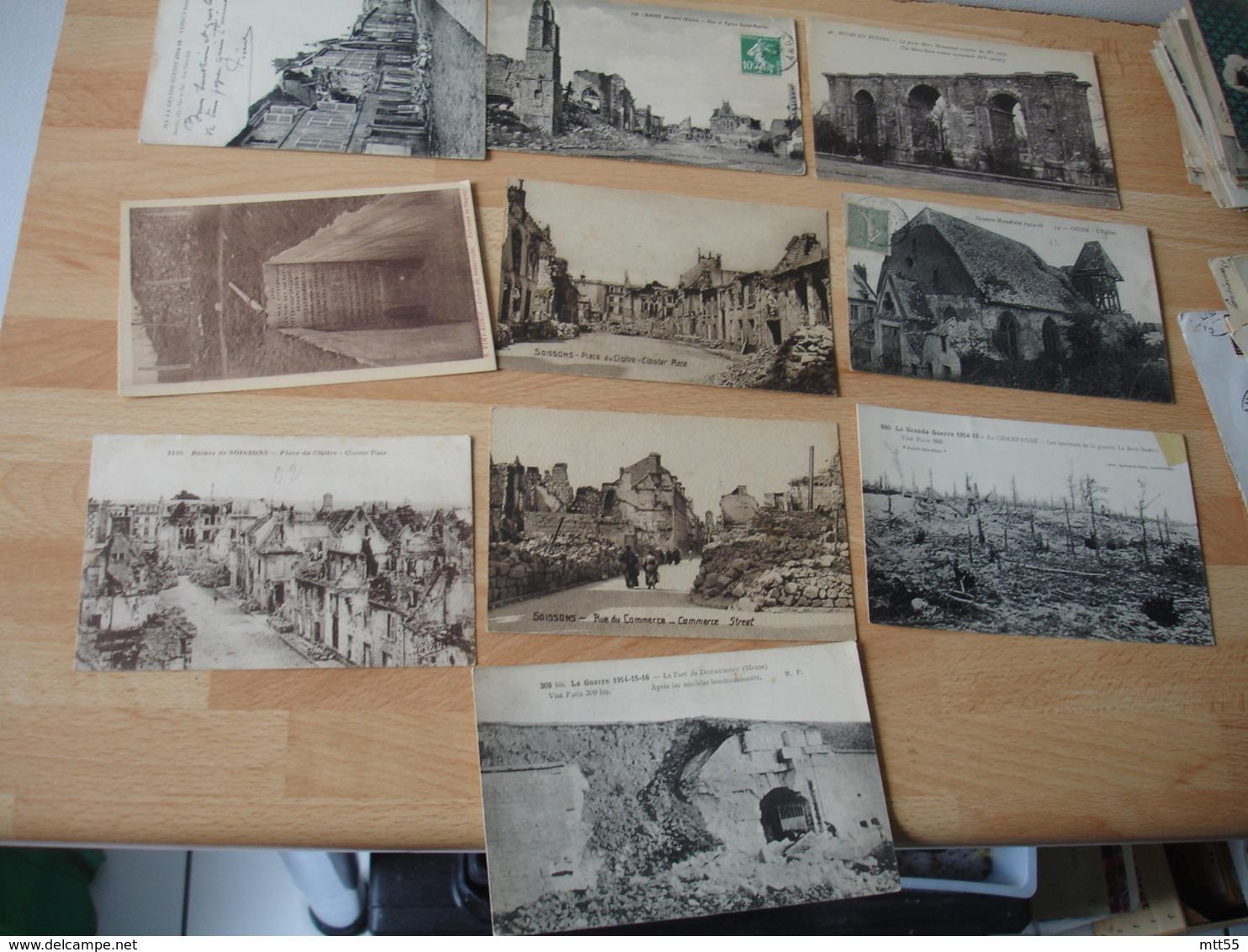Lot De 51 Carte Guerre 14.18 Ruines - Guerre 1914-18
