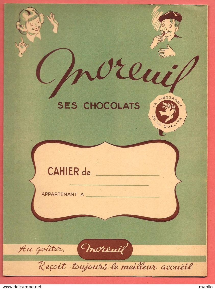 """Protège-Cahier """" CHOCOLAT MOREUIL """" Messager De La Qualité - S.A.P.A.L.F. Bordeaux/Paris Imp CAMILLE LACOSTE à BORDEAUX - Protège-cahiers"""