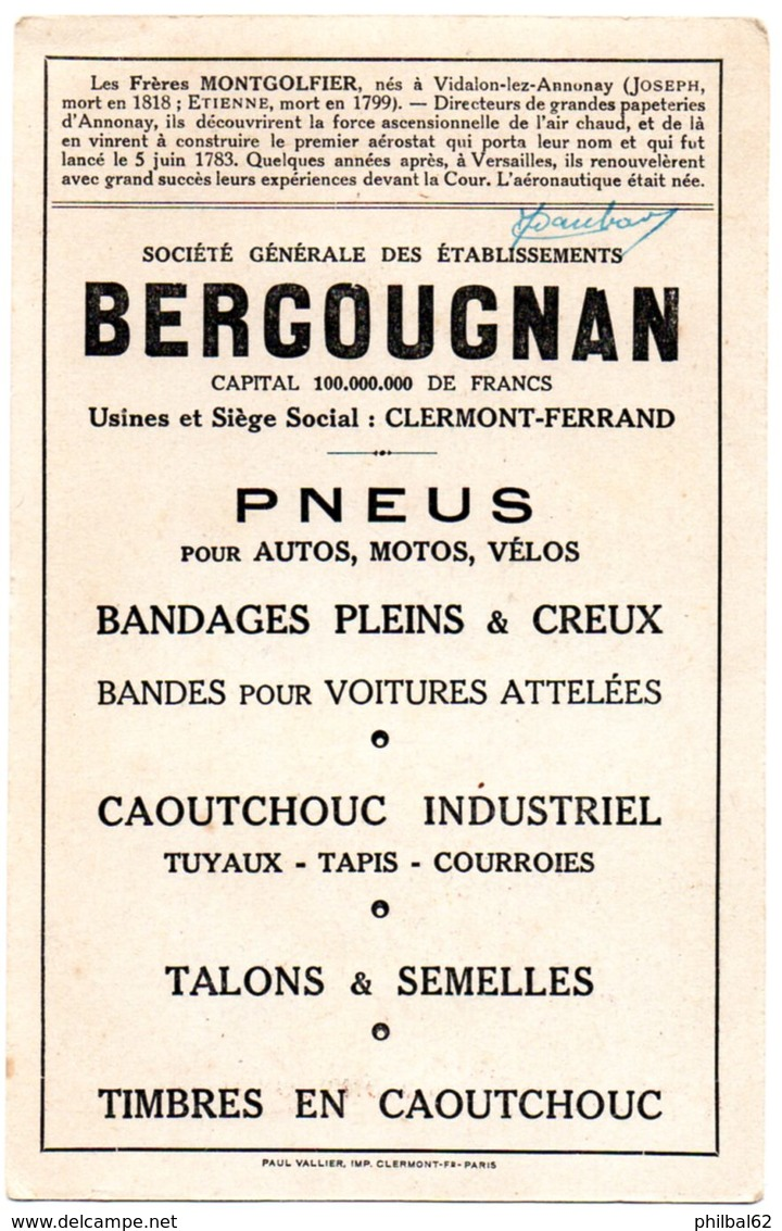 Chromo Ets Bergougnan à Clermont-Ferrand. Les Frères Montgolfier. Aéronautique. - Trade Cards