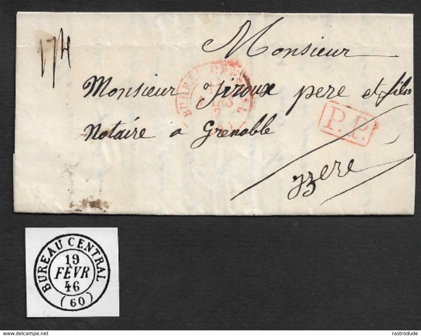 1847 - LAC - C.à.d BUREAU CENTRAL - P.P En Rouge A ISERE - Marcophilie (Lettres)