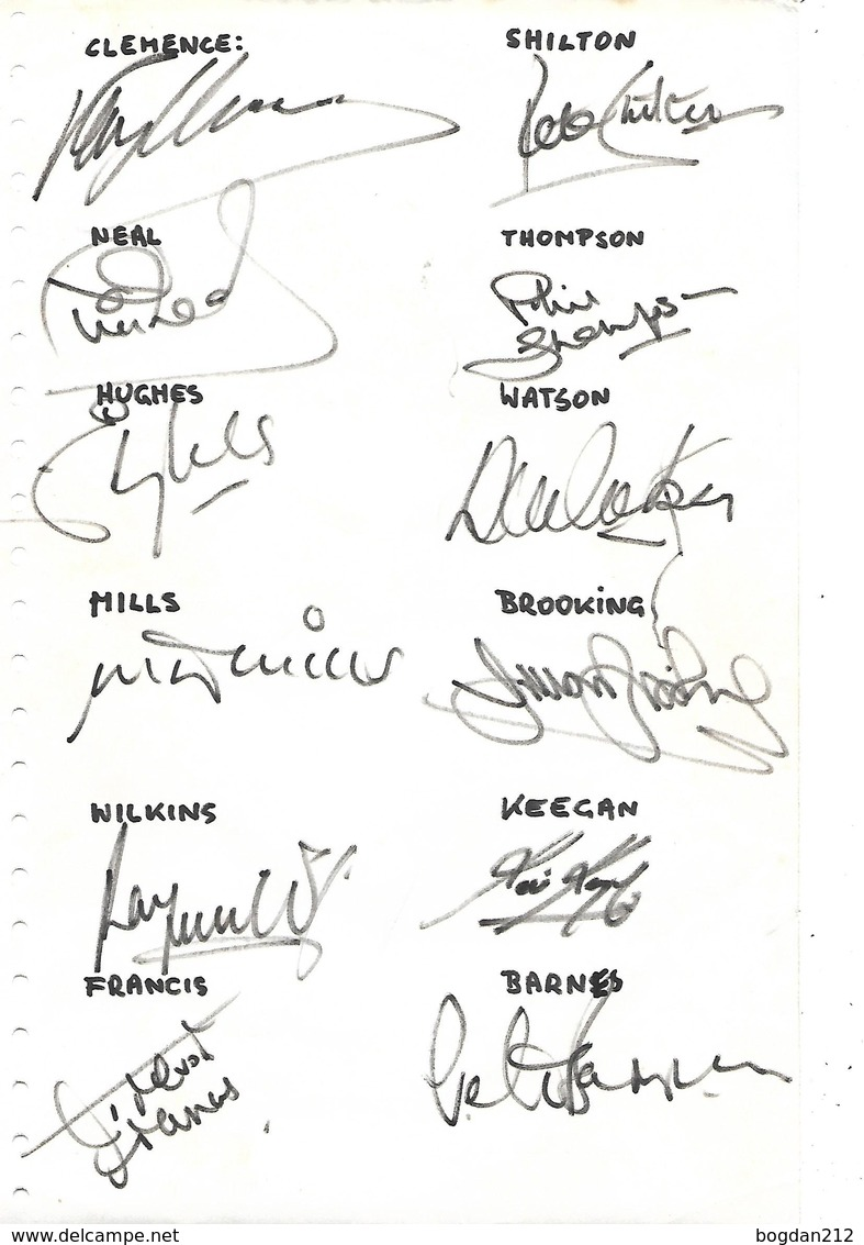 English Footbal Team, 21 Orginal Autographs, SHILTON, KEEGAN  And Others - Autogramme