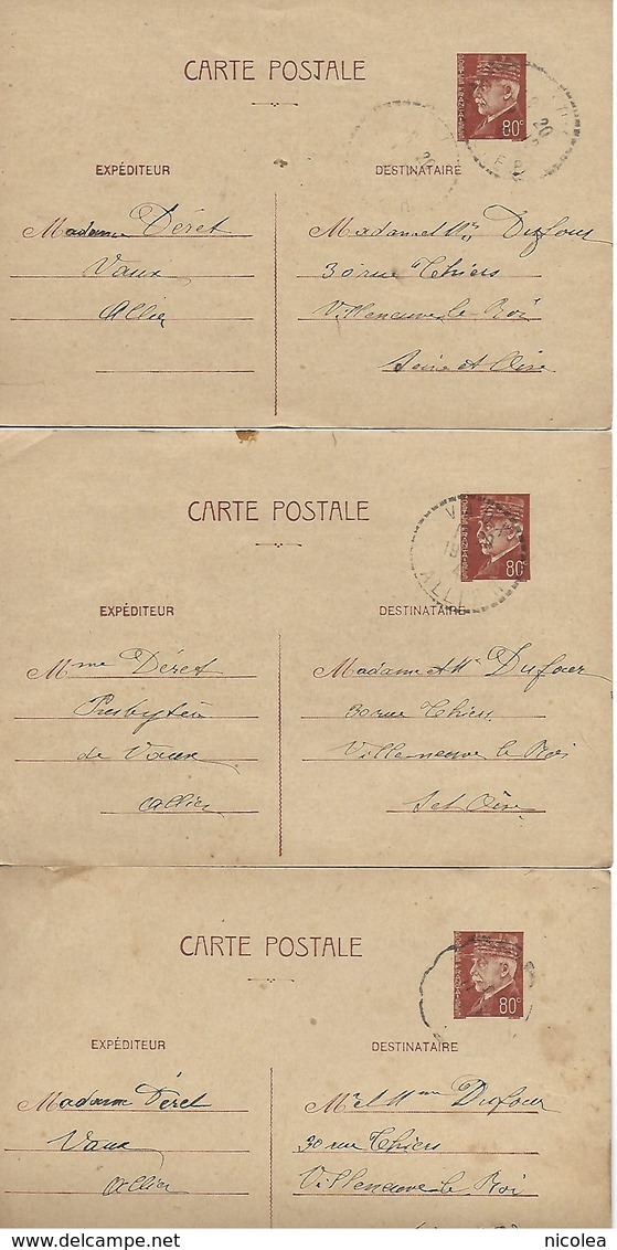 ENTIER POSTAL PETAIN 80 CENTIMES  X  3 DE VAUX (ALLIER ) à VILLENEUVE LE ROI ( Seine Et Oise ) - Cartes Postales Types Et TSC (avant 1995)