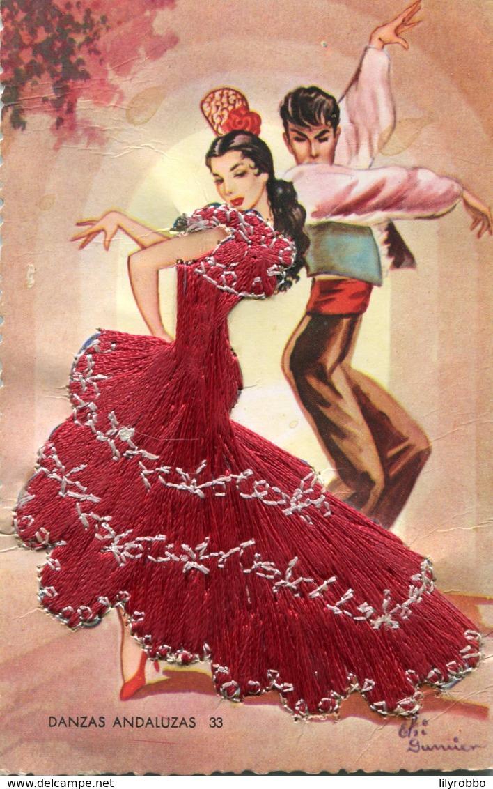 SPAIN - Embroided Silk Dancing Postcard - DANZAS ANDALUZAS - Europe
