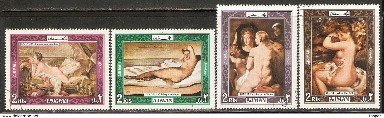 Ajman 1969 Mi# 435-438 A Used - Nude Paintings - Ajman
