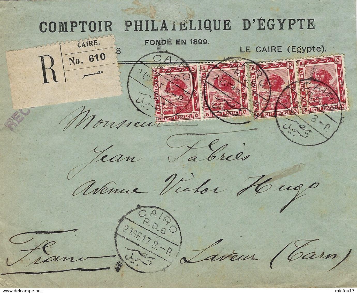 1917- Enveloppe RECC. Du CAIRE Affr. 20 Millièmes  Pour La France - Égypte