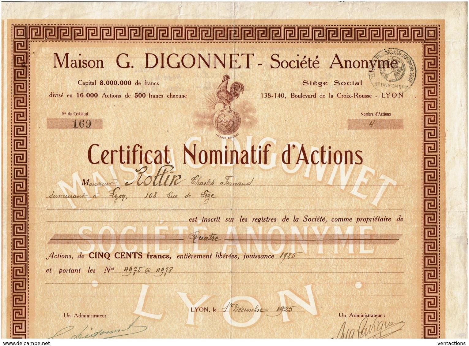 69-DIGONNET. Maison G. DIGONNET. LYON. DECO COQ Sur Mappemonde. CNA - Autres