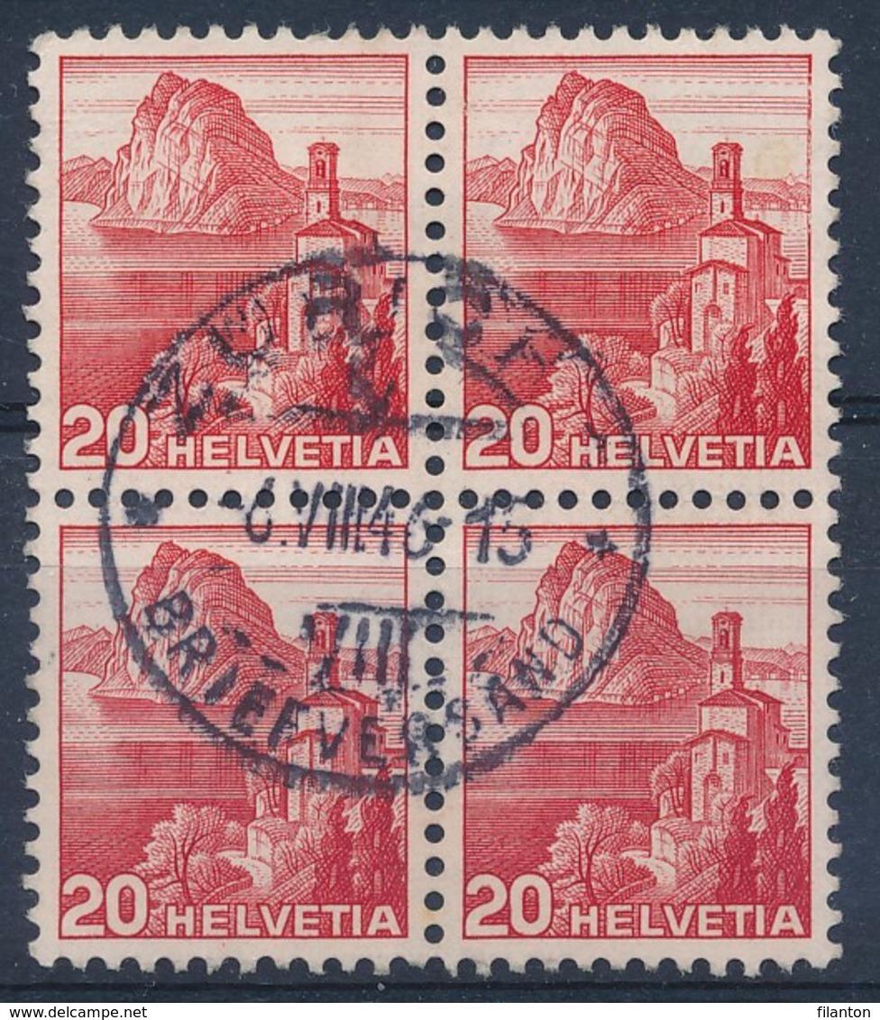 """HELVETIA - Mi Nr 327 Z - Viererblock -  Cachet """"ZURICH - BRIEFVERSAND"""" - (ref. 969) - Schweiz"""