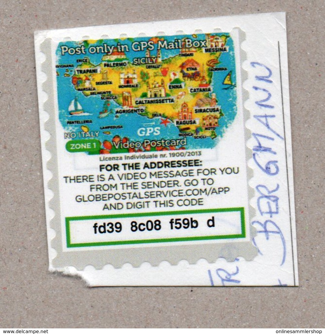 Italien - Privatpost - GPS Video Postcard - Karte Sizilien - Other