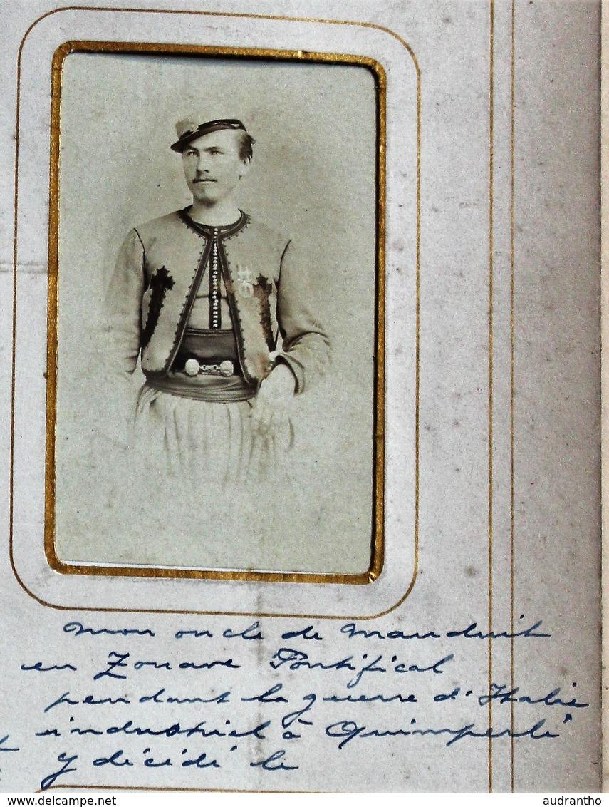 Photo CDV Soldat Identifié Henry MJ De Mauduit De Kervern Quimperlé Zouave Pontifical Guerre Italie Photo D'Alessandri - Guerre, Militaire