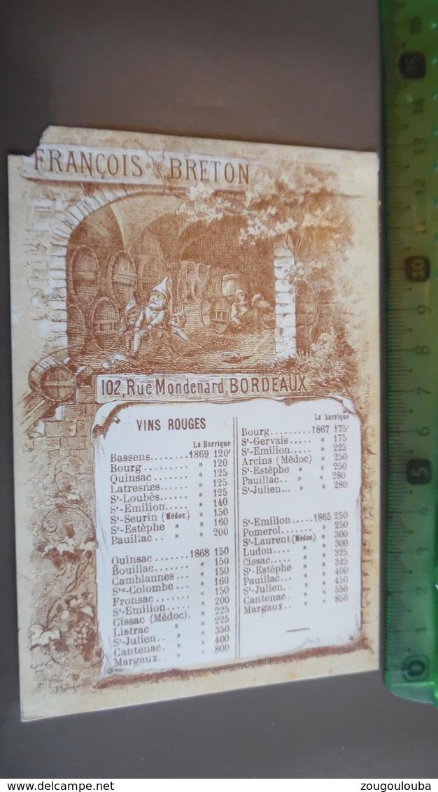 Carte Porcelaine De Visite François Breton Vin De Bordeaux - Cartes De Visite
