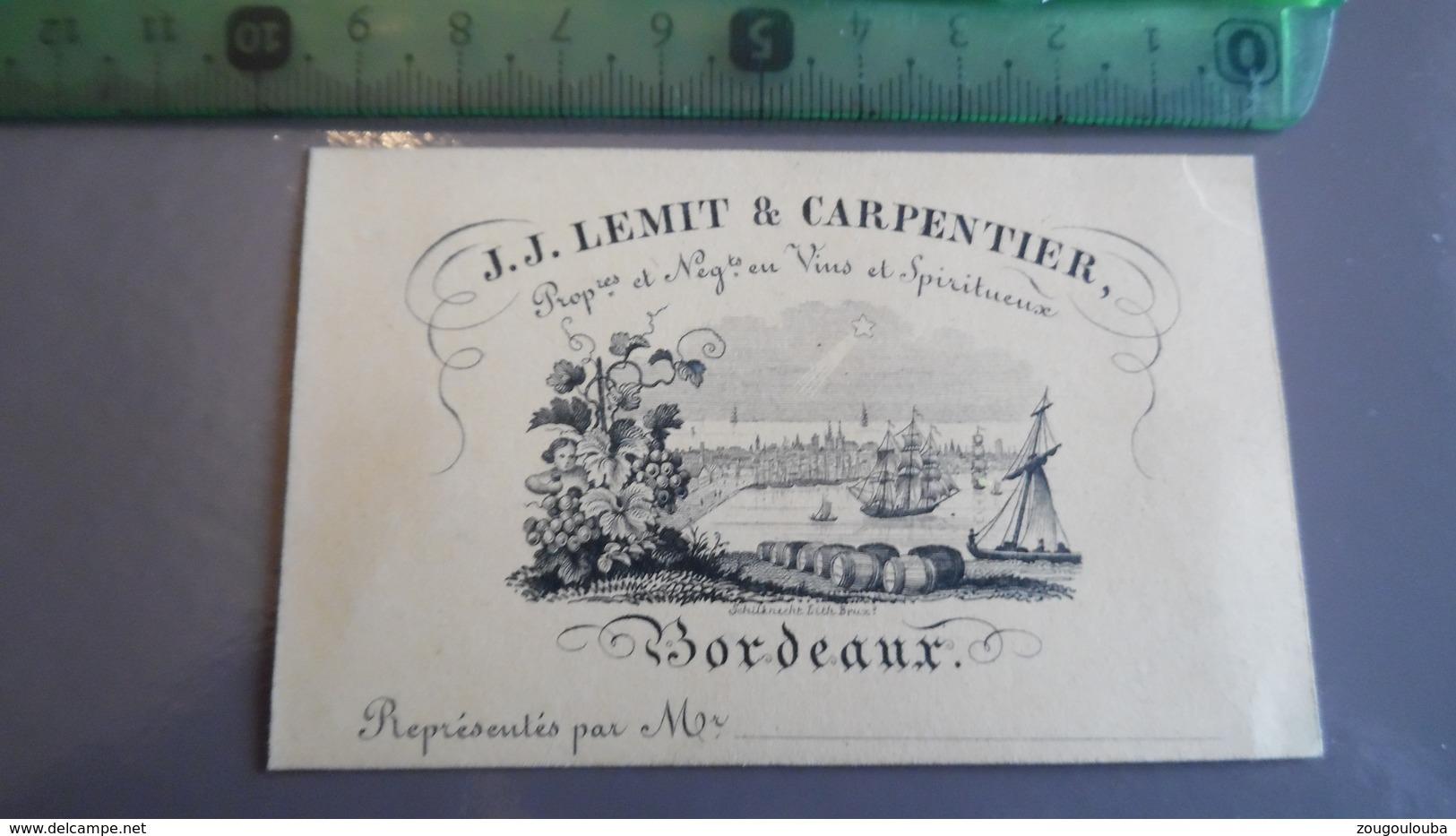 Carte De Visite Lemit & Carpentier Vin Et Spiritueux De Bordeaux Fond Orange - Cartes De Visite