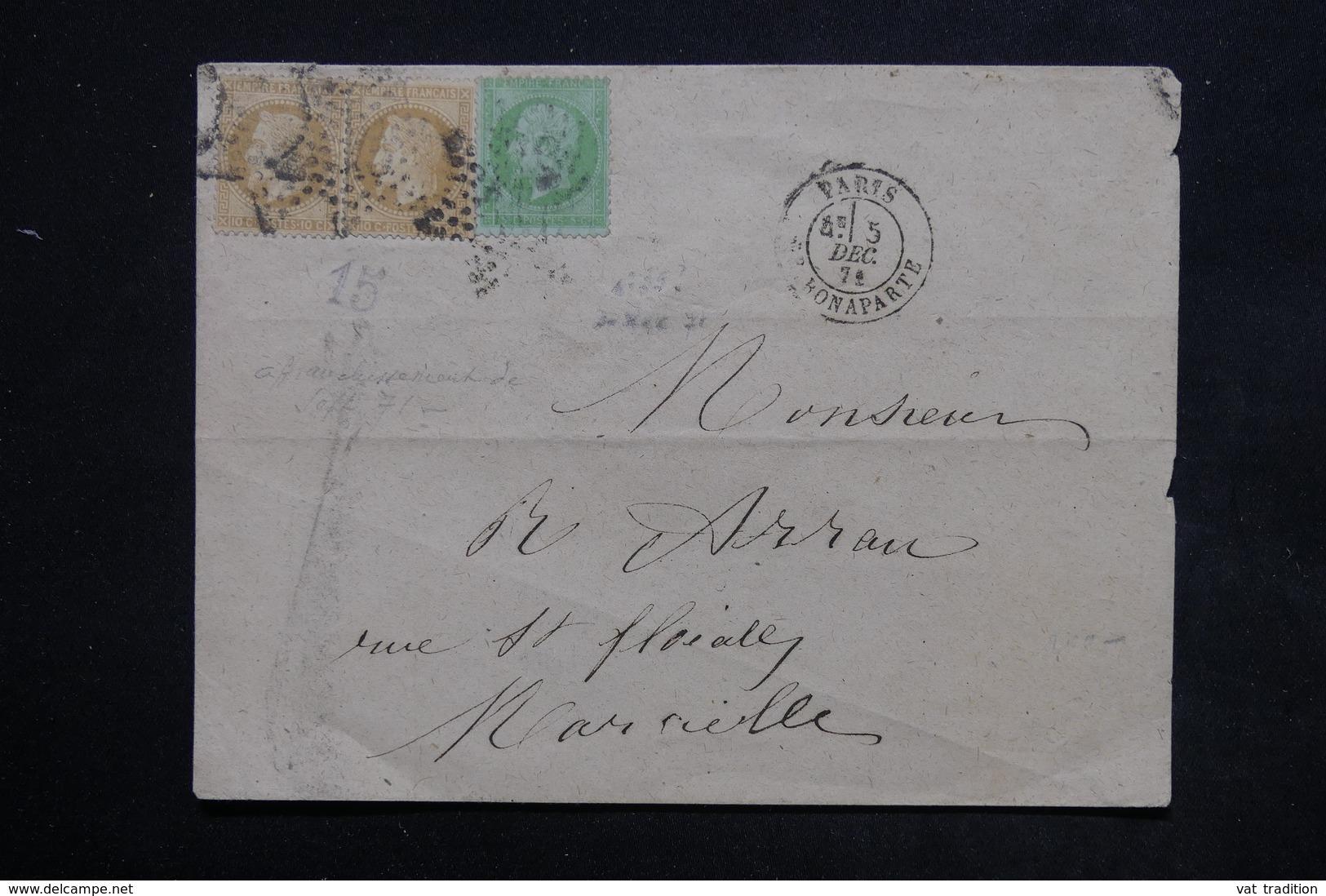 FRANCE - Enveloppe De Paris En 1871 Pour Marseille , Affranchissement Napoléon Lauré Et Non Lauré - L 24044 - 1849-1876: Période Classique
