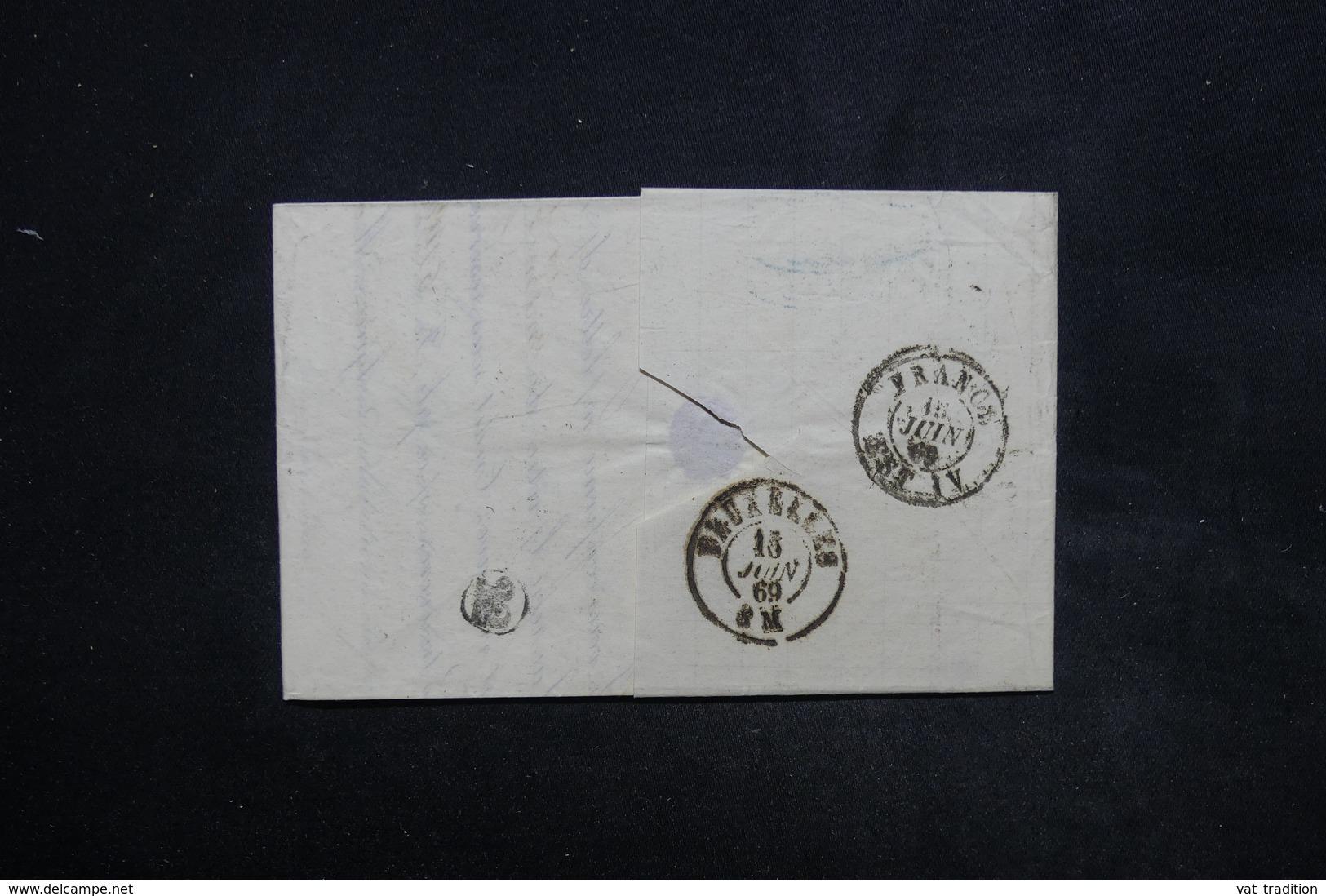 FRANCE -Lettre De Cambrai Pour Bruxelles En 1869 , Affranchissement Napoléon Lauré - L 24045 - 1849-1876: Période Classique