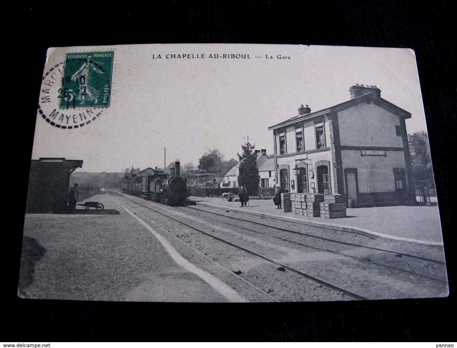 Ancienne Carte Postale CPA La Chapelle Au Riboul La Gare Circulée 1911 - Autres Communes