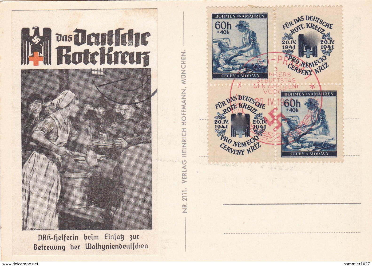 Böhmen Und Mähren Sammlerkarte Aus Prag 1941 - Bohemia & Moravia