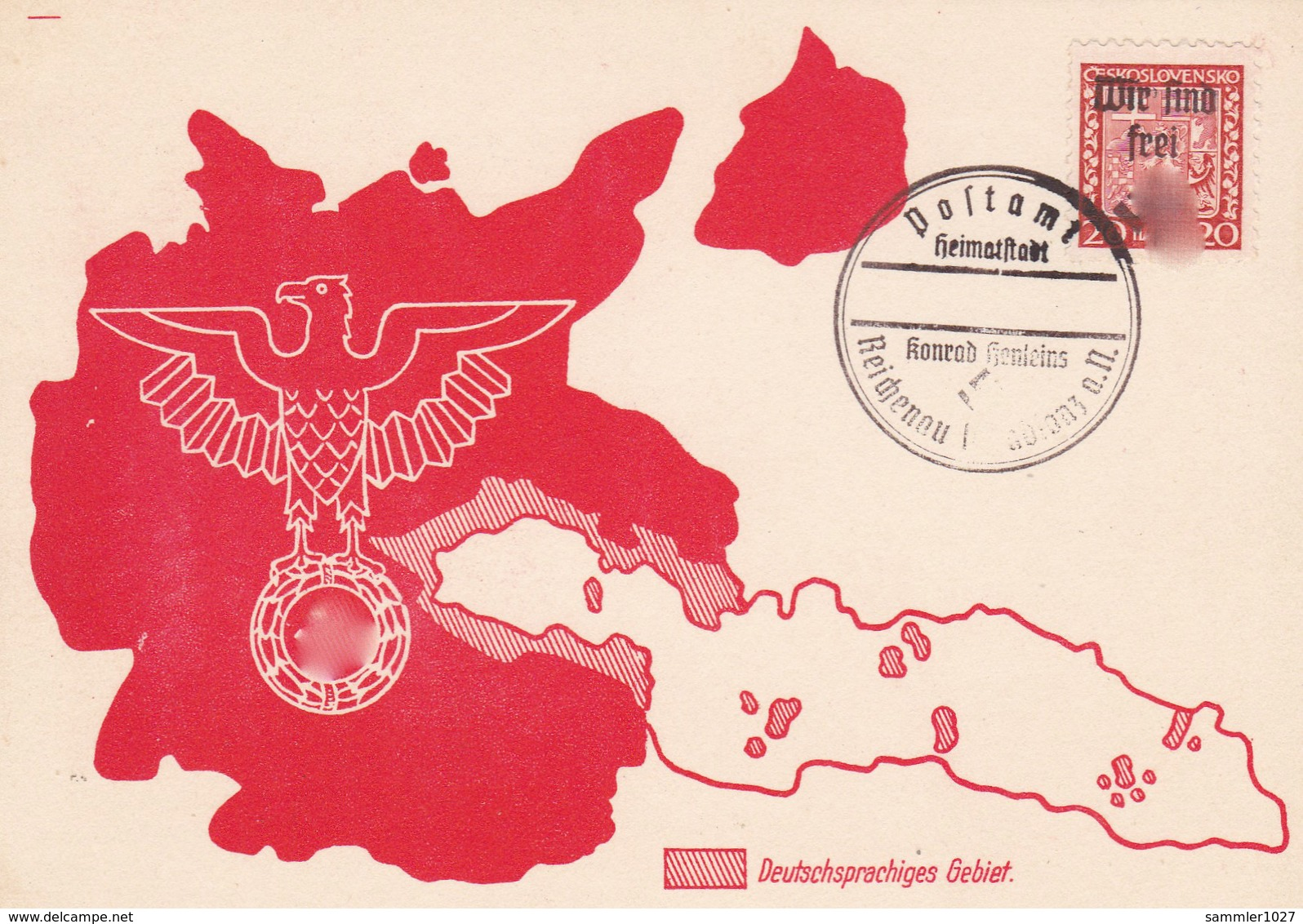 Böhmen Und Mähren Sammlerkarte Aus Reichenau  - Sudeten 1938 - Böhmen Und Mähren