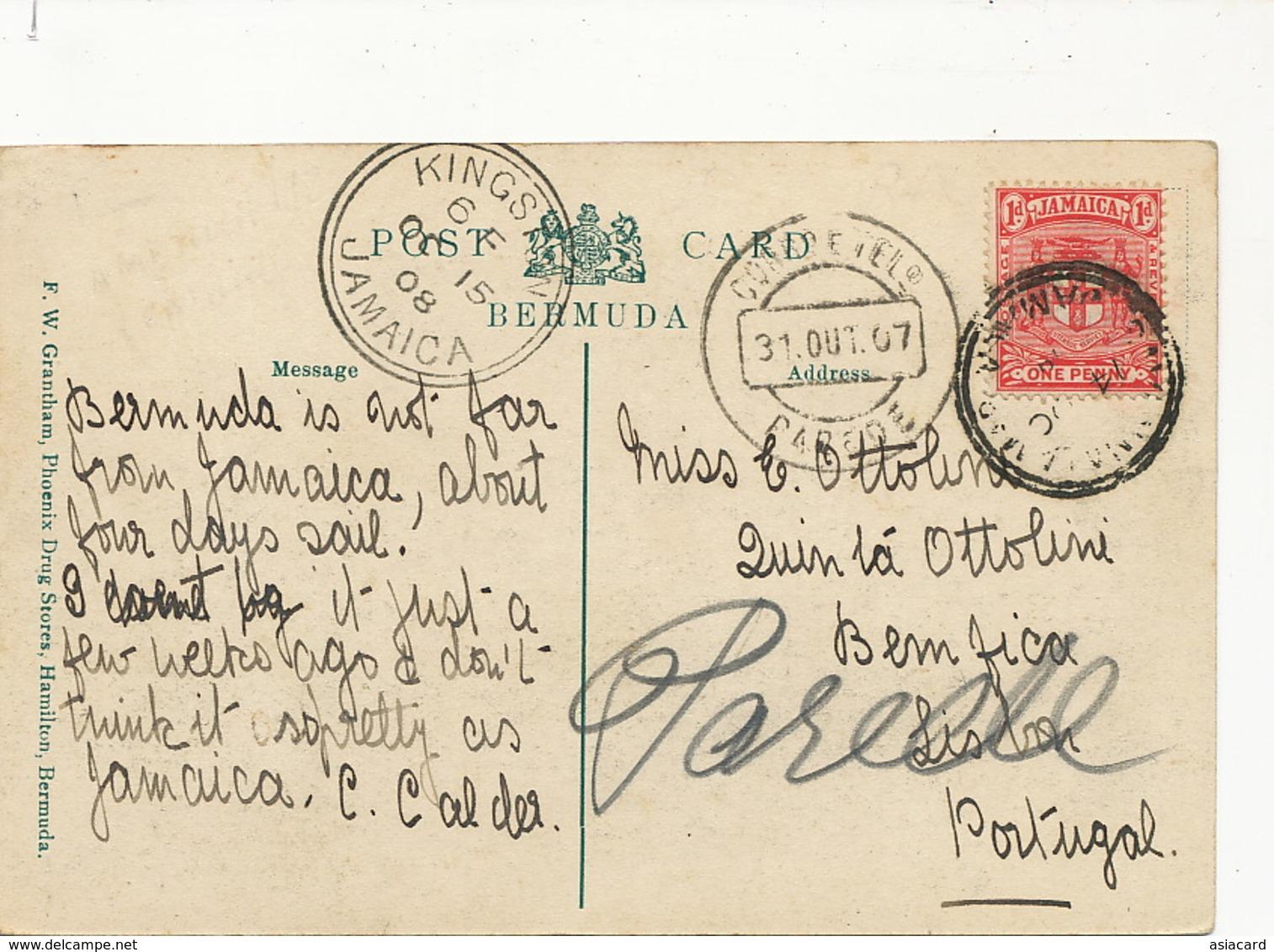 Post Office And Parliament Buildings , Hamilton Bermuda  Edit Grantham P. Used To Benfica Portugal Quinta Ottolini - Bermudes