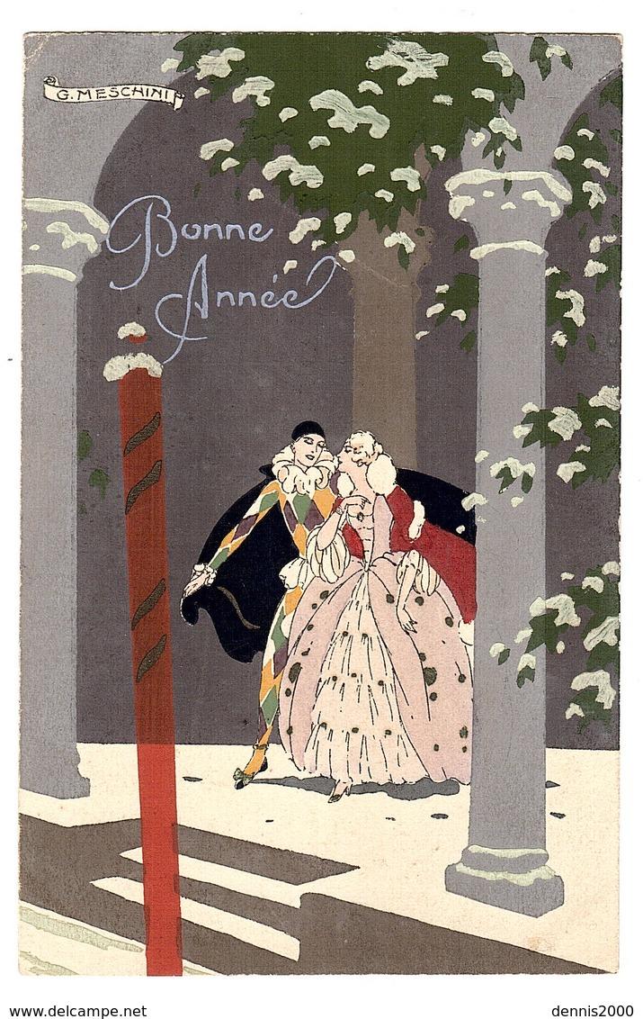 Illustrateur G. MESCHINI - ART DECO - ART NOUVEAU - FEMME ET ARLEQUIN - Carte Peinte à La Main - Femmes