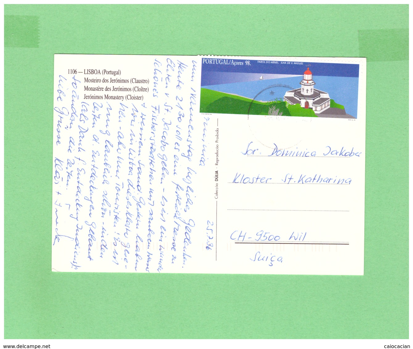 1998 PORTUGAL POSTCARD WITH 1 STAMP TO SWISS - 1910 - ... Repubblica