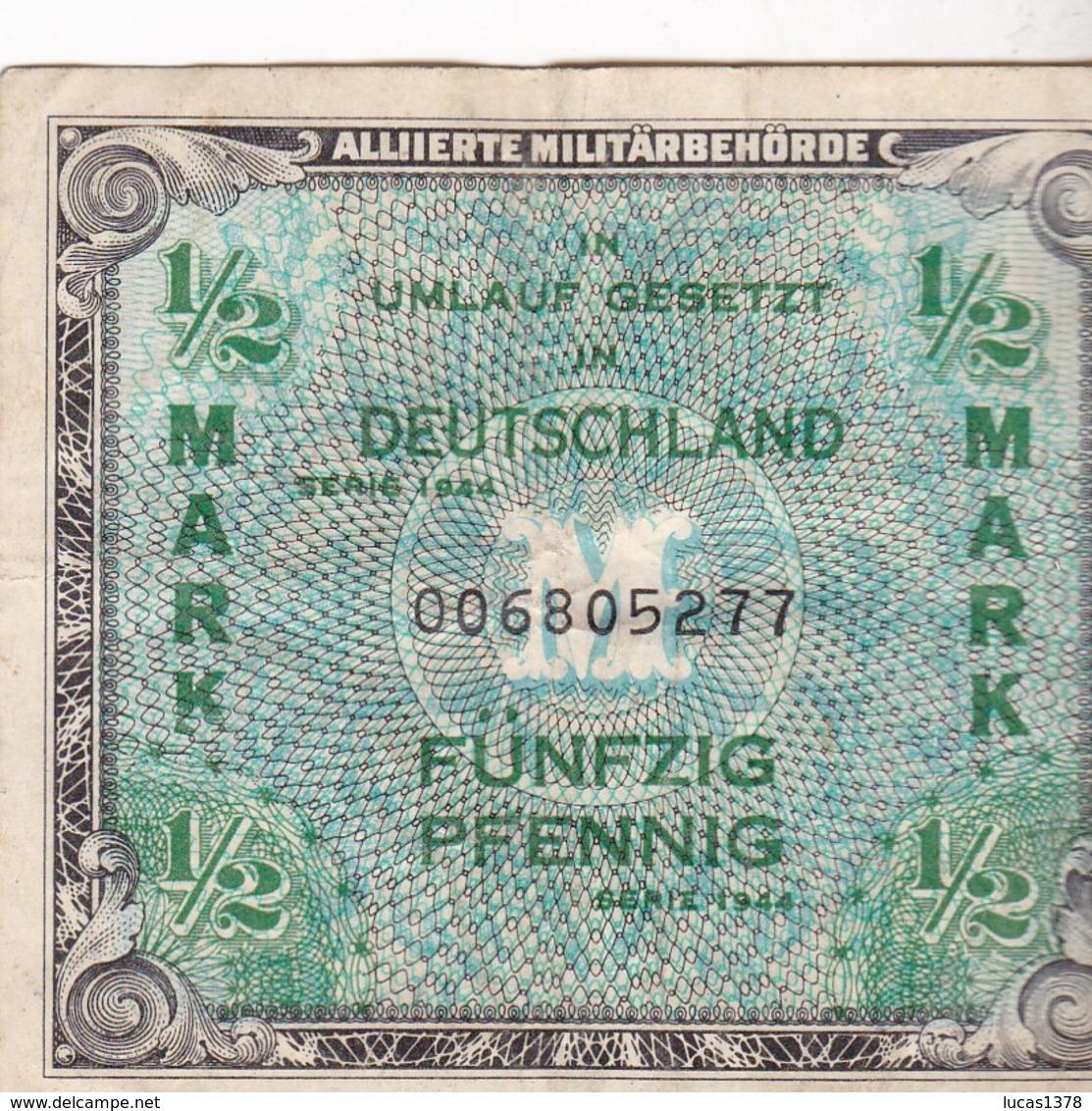ALLEMAGNE - 1/2 Mark - ALLIIERTE MILITARBEHORDE - 1944 - [ 5] 1945-1949 : Occupazione Degli Alleati