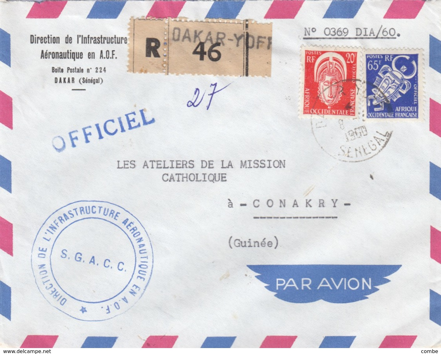 FRENCH COLONIE. AOF. COVER SERVICE. REGISTERED DAKAR TO CONAKRY GUINEE      / 4 - Briefmarken