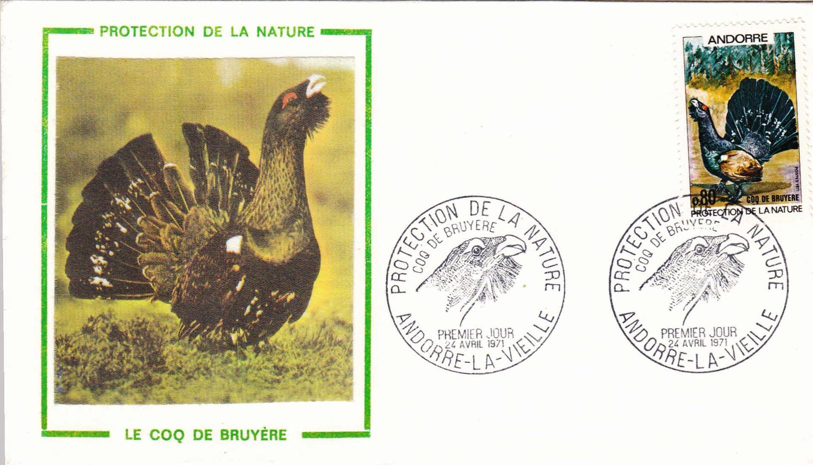 ANDORRE - 1971 - FDC - Protection De La Nature - Oiseau - Coq De Bruyère - FDC