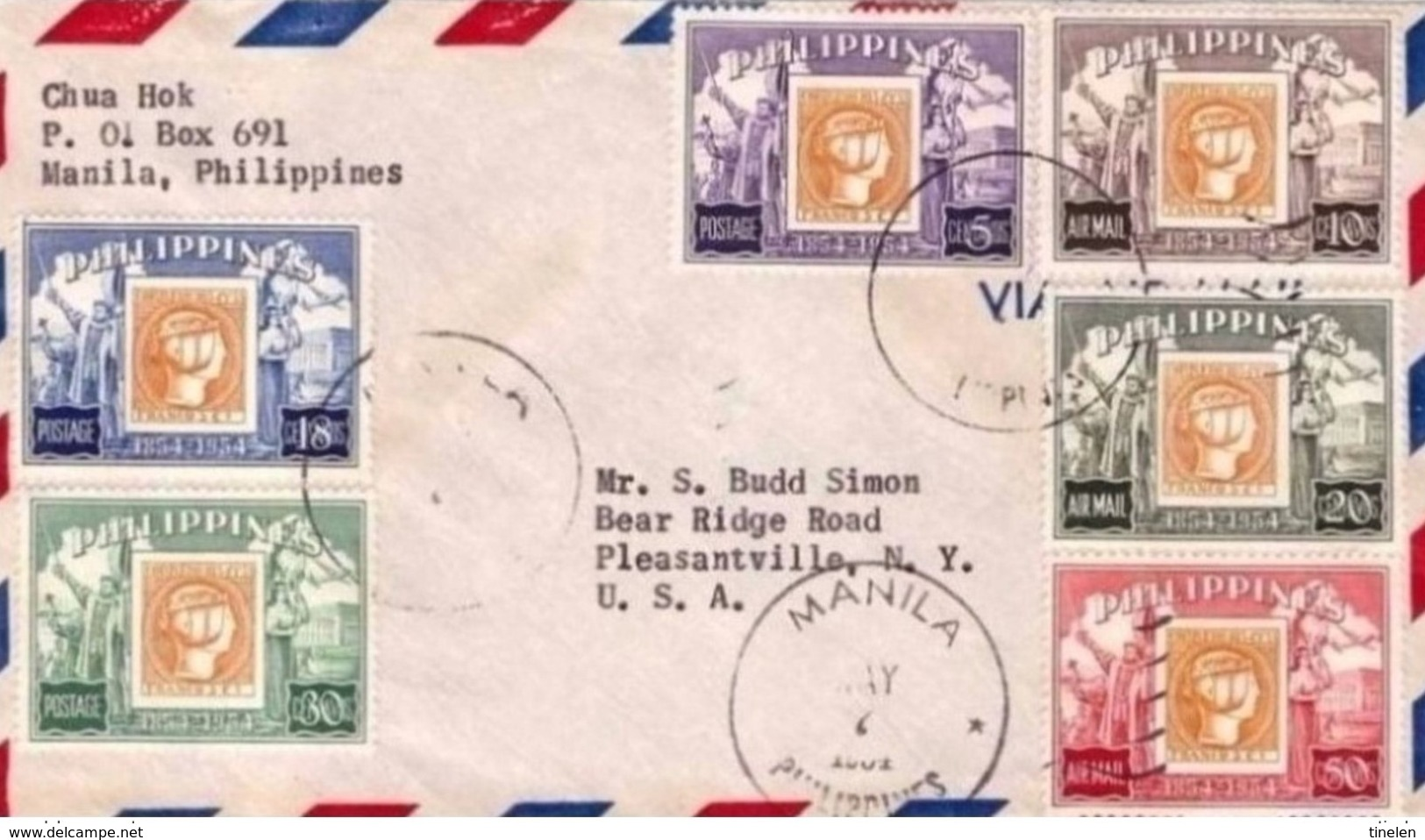 Philippines 1954 Stamp On Stamp Issues On Cover To USA - Philippines