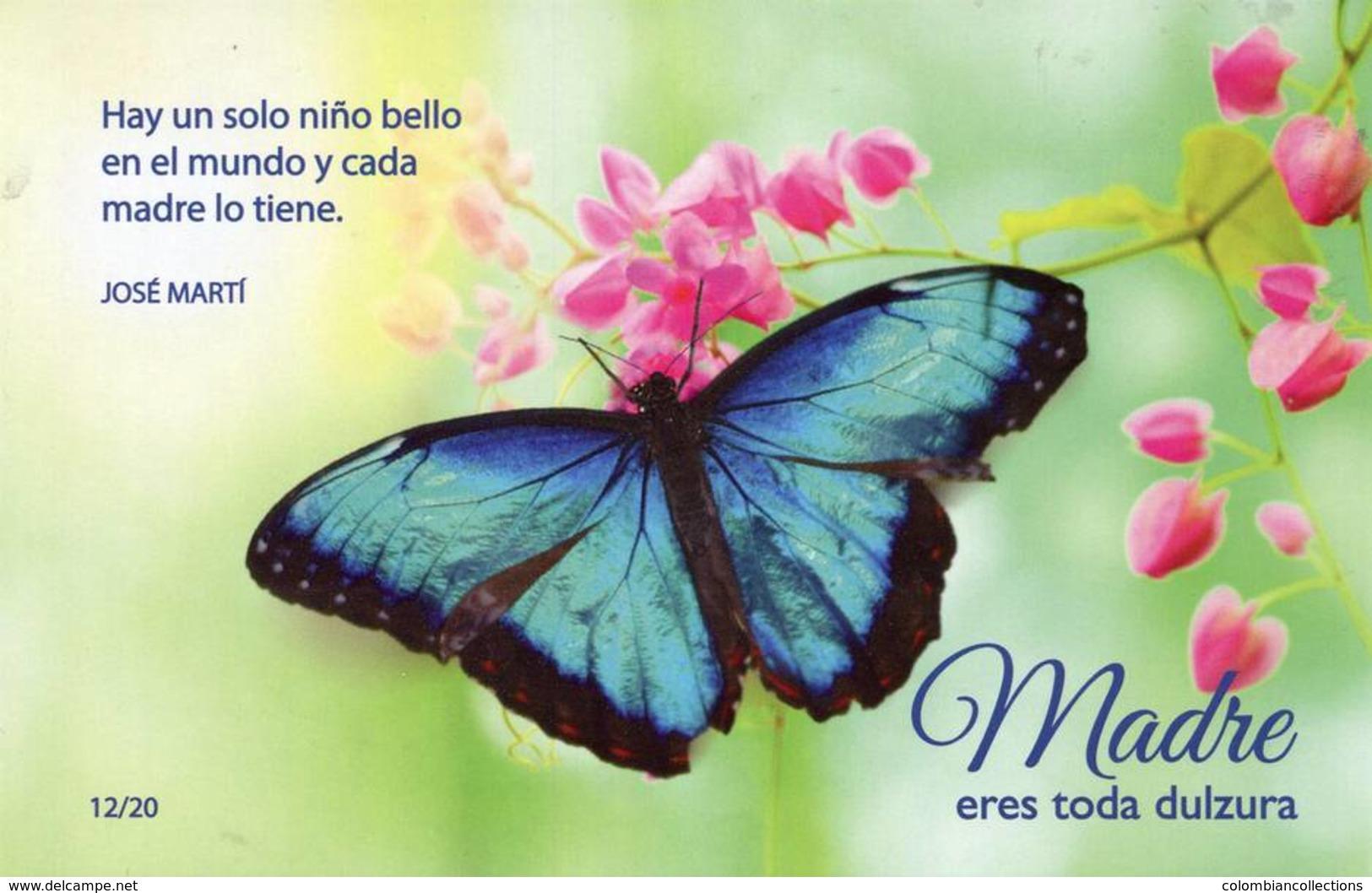 Lote PEP1250, Cuba, Entero Postal, Postal Stationery, Dia De Las Madres, Flor, Mariposa, 12-20, Butterfly, Orchid - Maximumkarten