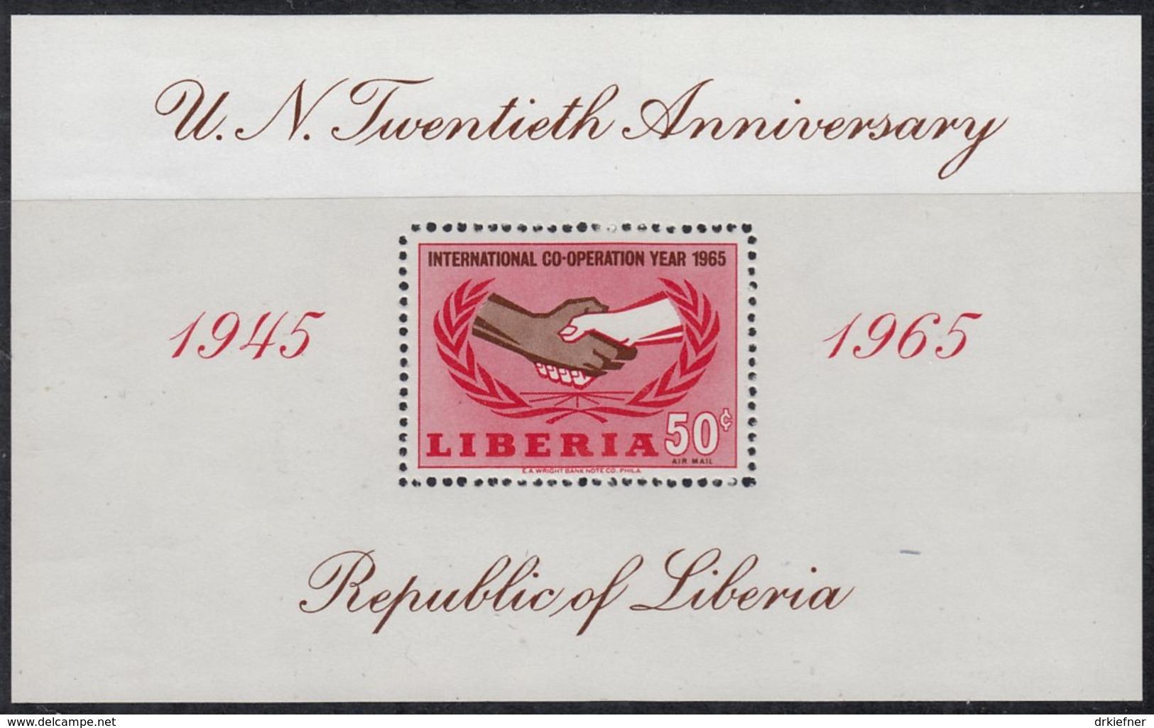 LIBERIA  Block 34, Postfrisch **, 20 Jahre Vereinte Nationen (UNO), 1965 - Liberia