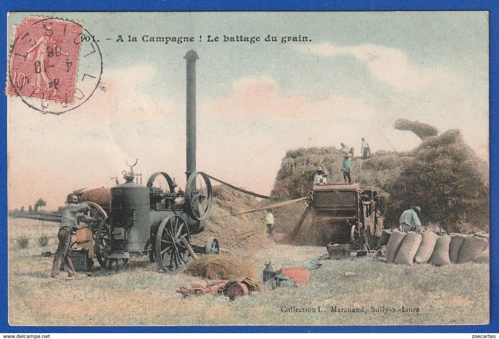 Battage Du Grain Belle Animation Tampon LORRIS 1906 (Très Très Bon ETAT) WW402) - Cultures