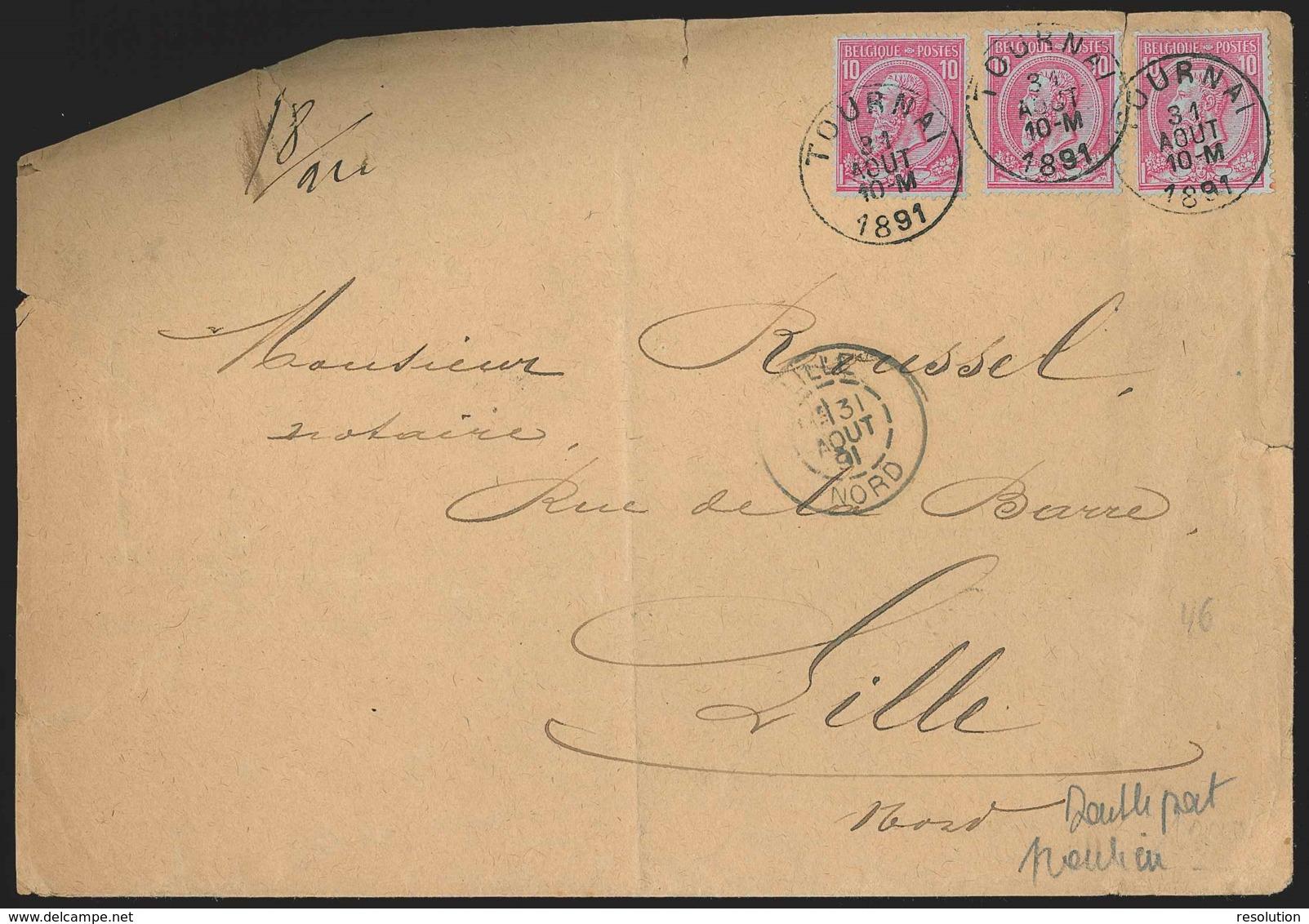L. En Double Port Frontalier Affr. N°46 X3 De TOURNAI/1891 Pour Lille - R ! - 1884-1891 Leopold II