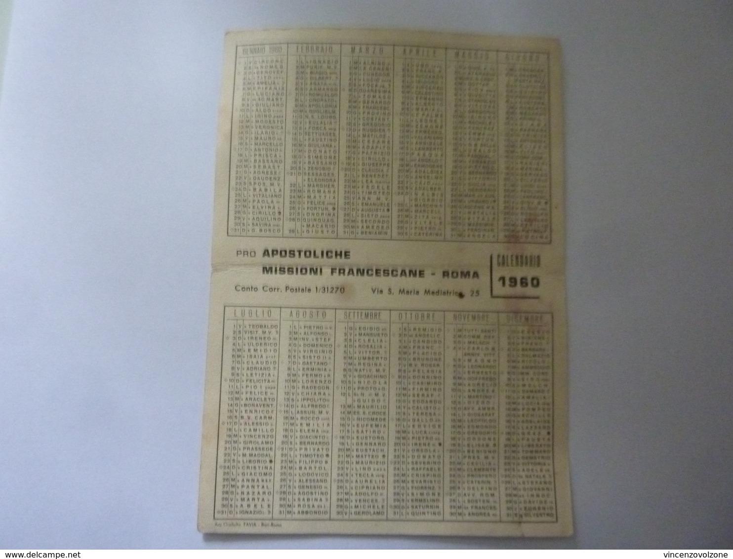"""Calendario Pieghevole """"MISSIONI APOSTOLICHE FRANCESCANE 1960"""" - Formato Piccolo : 1941-60"""