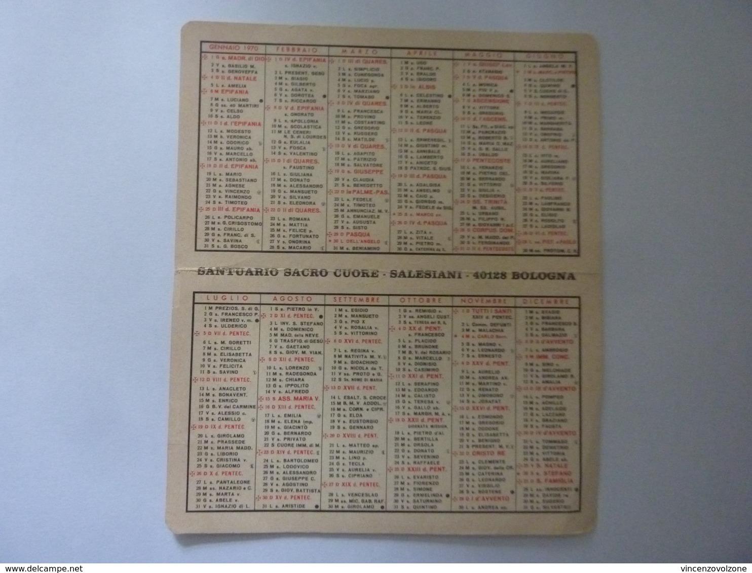 """Calendario Pieghevole """"SANTUARIO SACRO CUORE SALESIANI BOLOGNA 1970"""" - Formato Piccolo : 1961-70"""